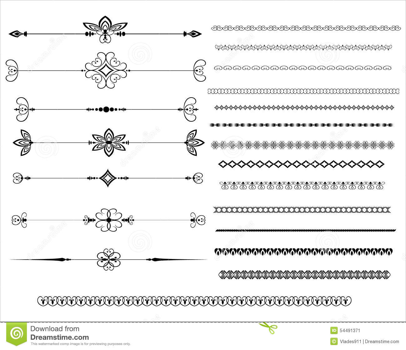 Ornamental Rule Lines In Different Design Stock Vector