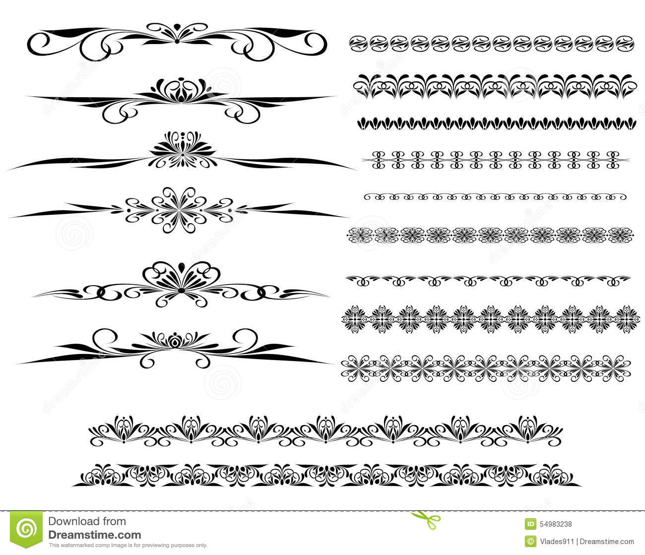 Types Of Lines In Design : Ornamental rule lines in different design stock vector