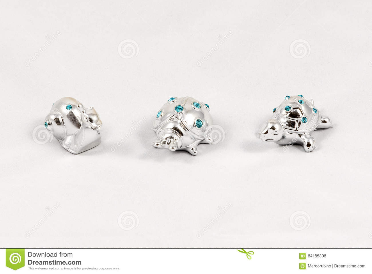 Ornamental Silver Snail, Ladybird And Turtle With ...