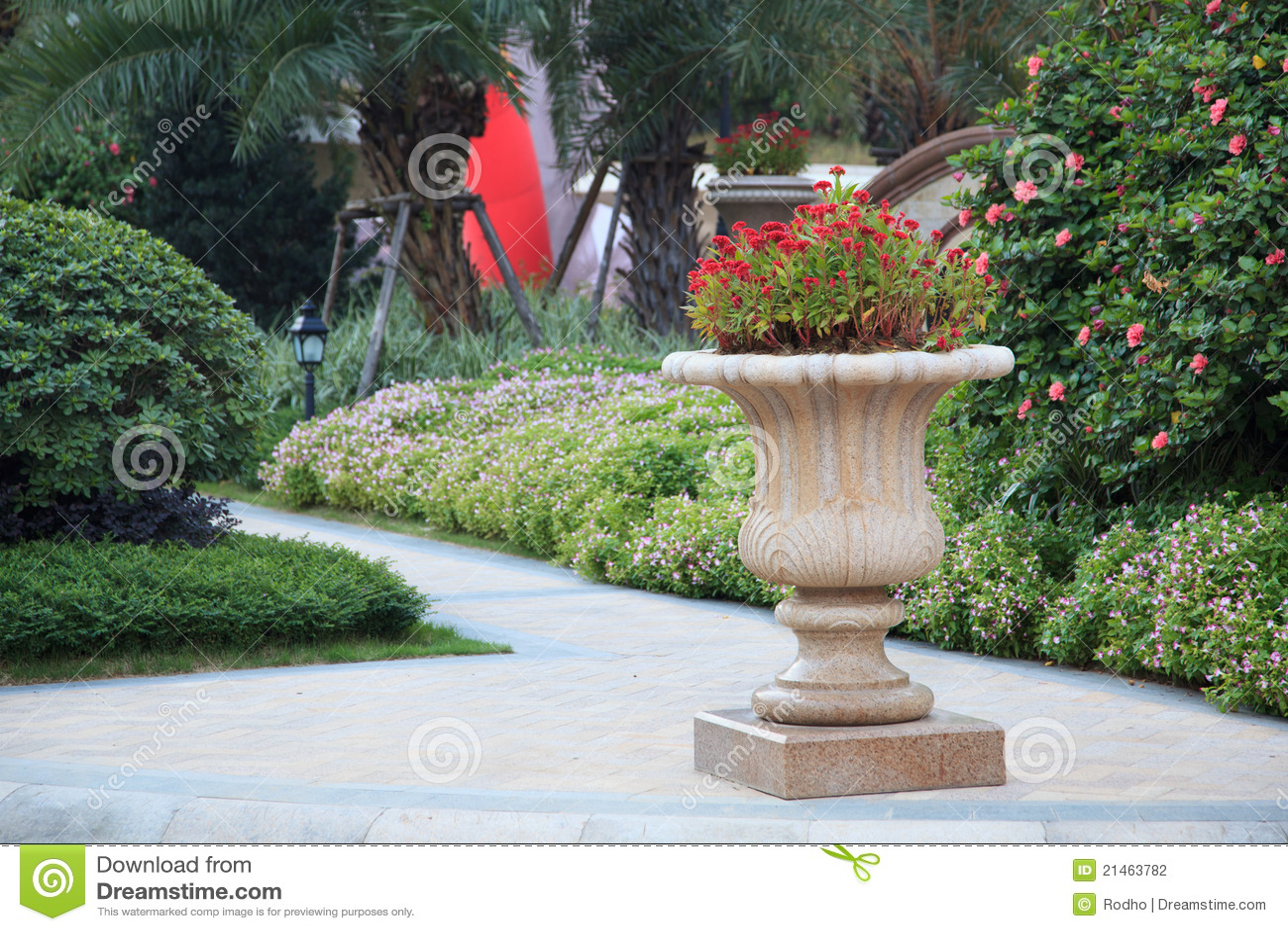Ornamental Stone Flowerpot In Garden Stock Photo Image