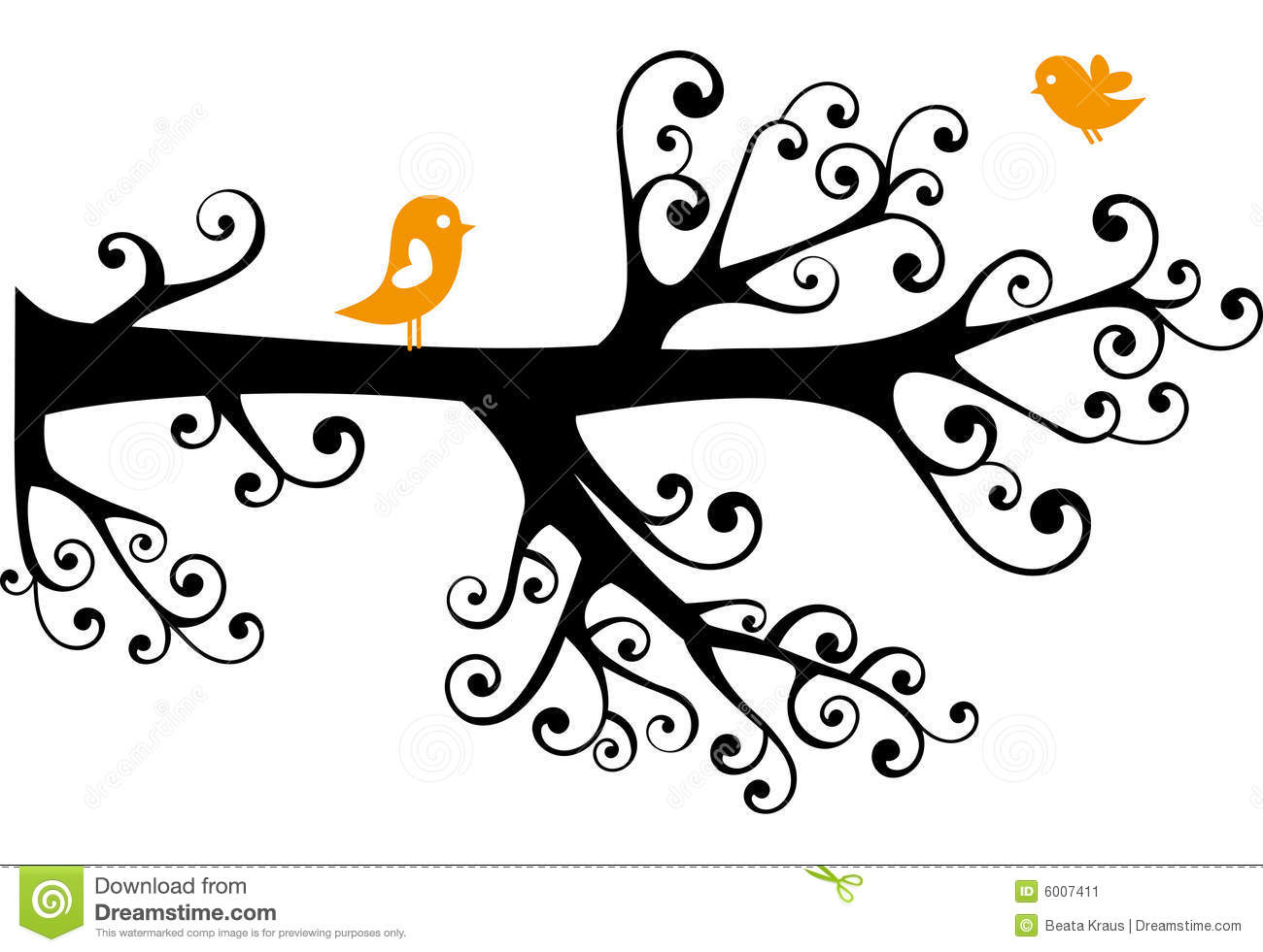 Ornamental Tree With Lovebirds Stock Image - Image: 6007411