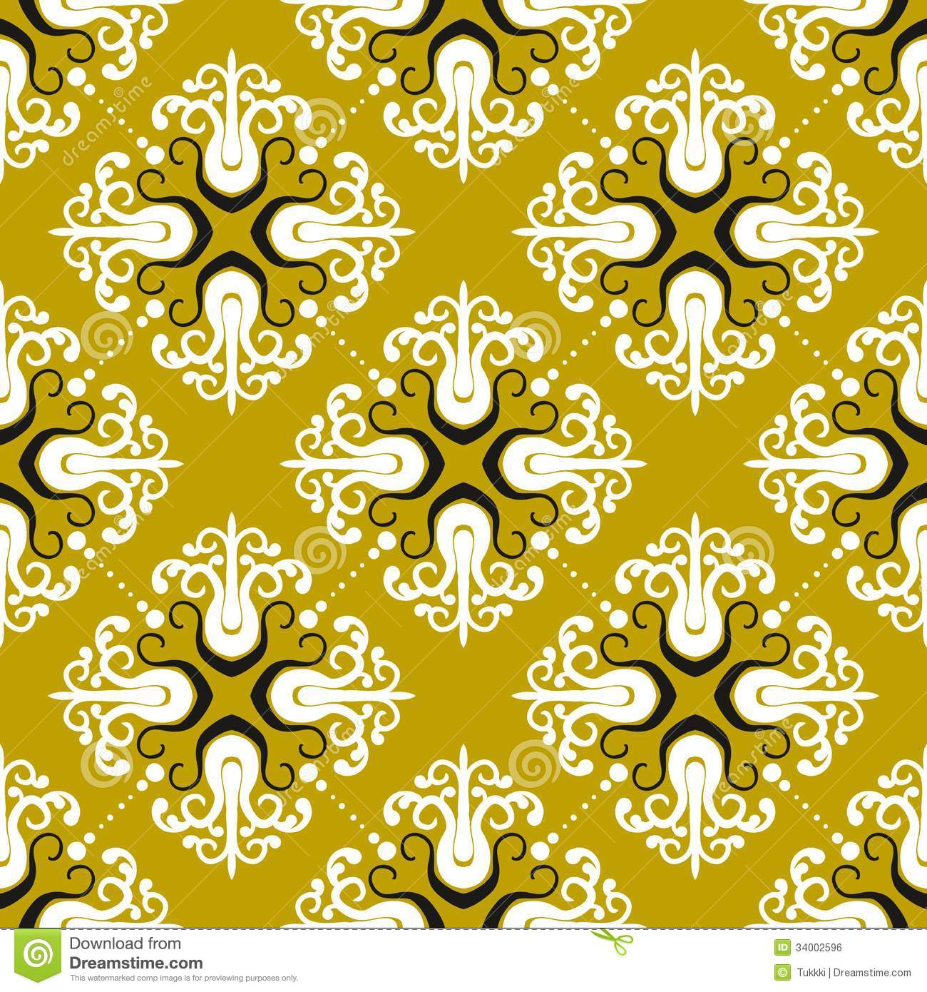 Ornamental vintage pattern with damask motifs royalty free for Fabric mural designs