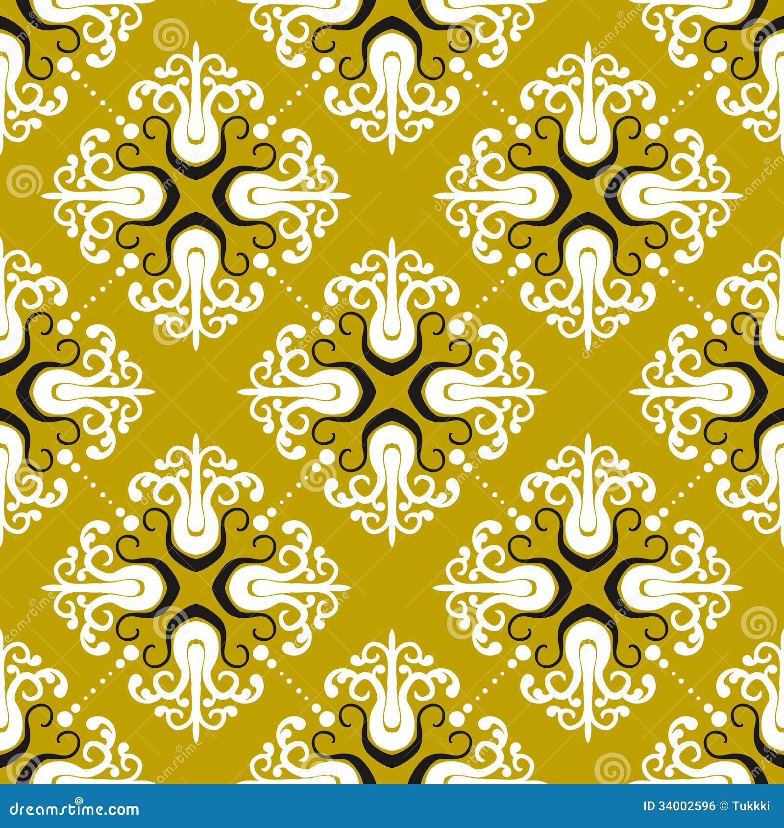 Ornamental Vintage Pattern With Damask Motifs Royalty Free ...