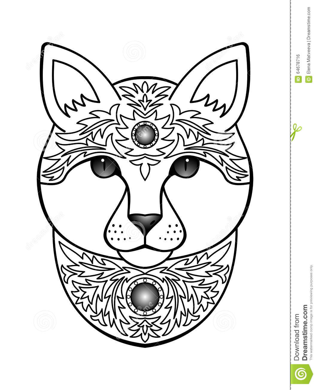 Ornamental White Cat Stock Vector Illustration Of Detailed 64678716