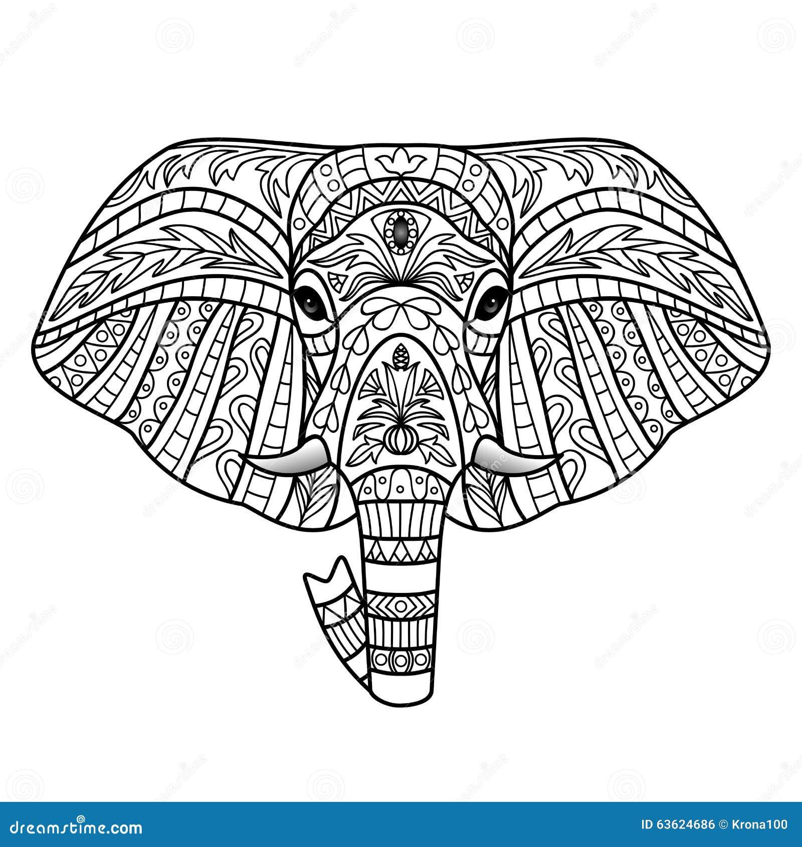 Ornamental White Elephant Stock Vector Image Of Elegance