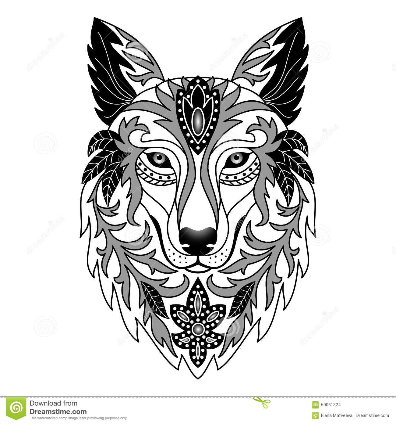 Ornamental Wolf Stock Vector Image 59061324
