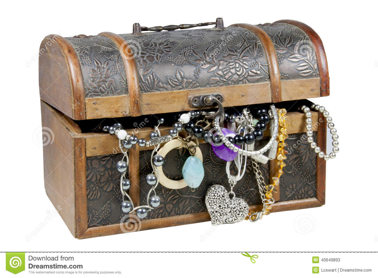 Ornamental Wooden Treasure Chest Overflowing With ...