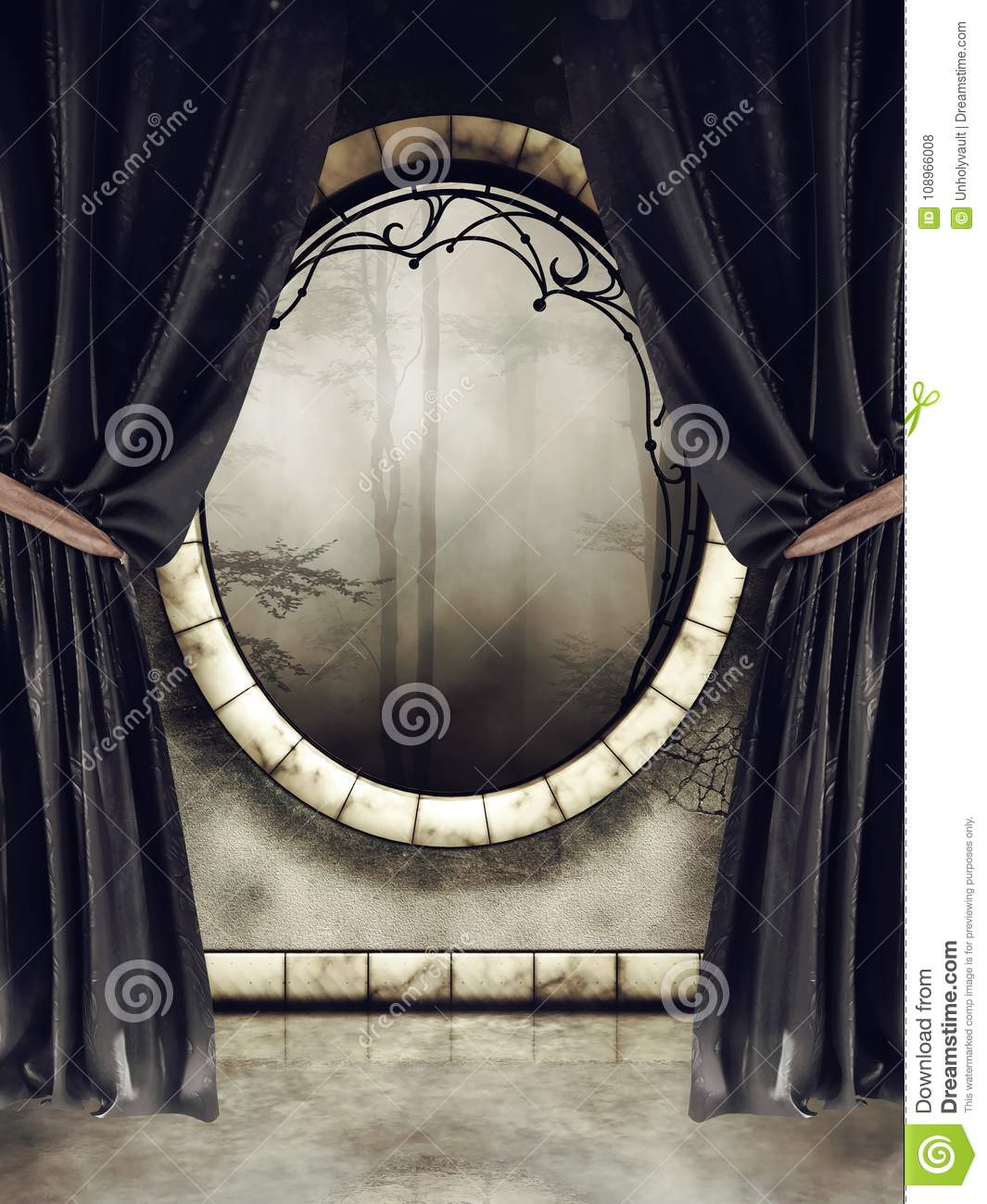 Vintage Window And Black Curtains Stock Illustration Illustration Of Long Ornamented 108966008