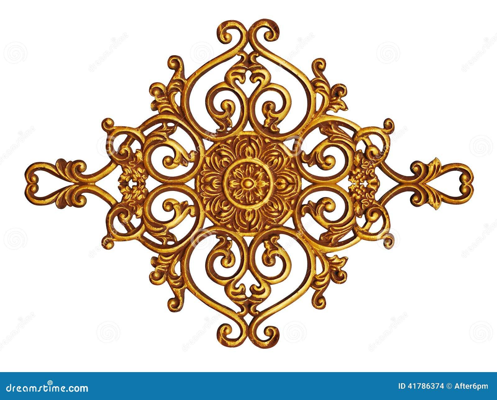 Ornamentelementen, uitstekende gouden bloemenontwerpen