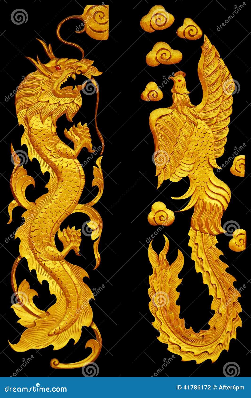 Ornamentelementen, uitstekende Gouden Dragonl en zwaanontwerpen