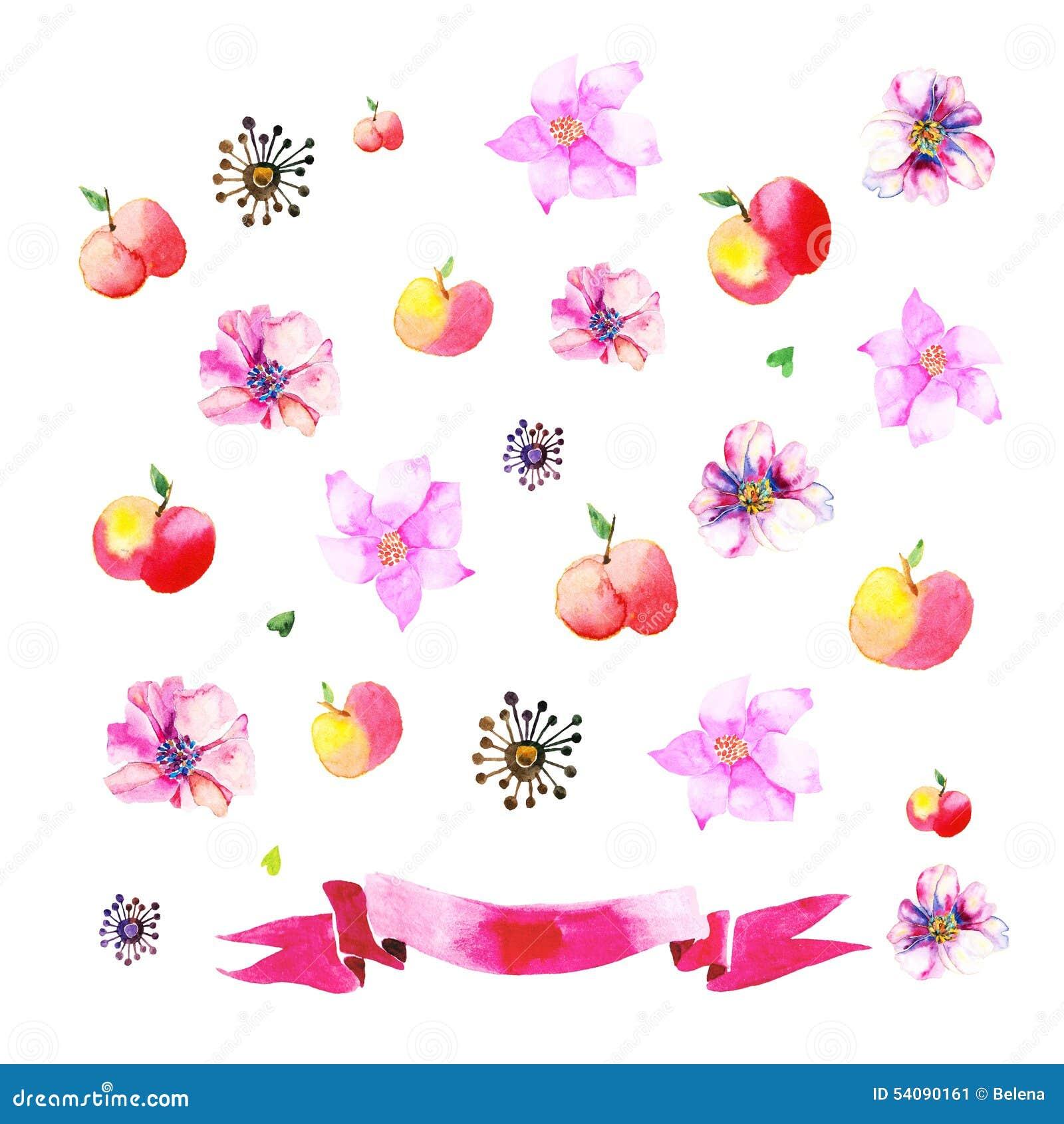 Ornamenten met geschilderde appelen, bloemen