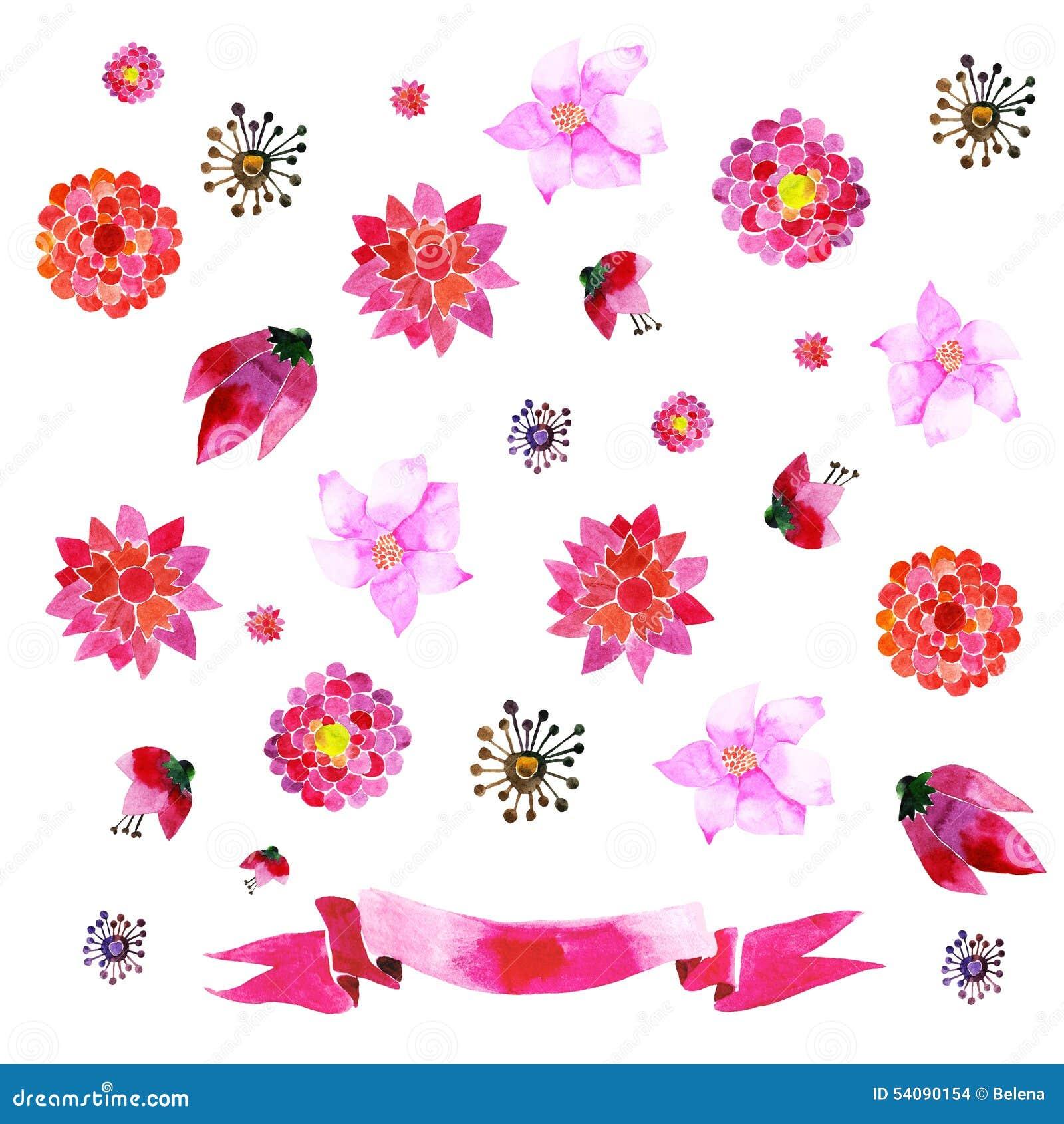 Ornamenten met geschilderde rode bloemen