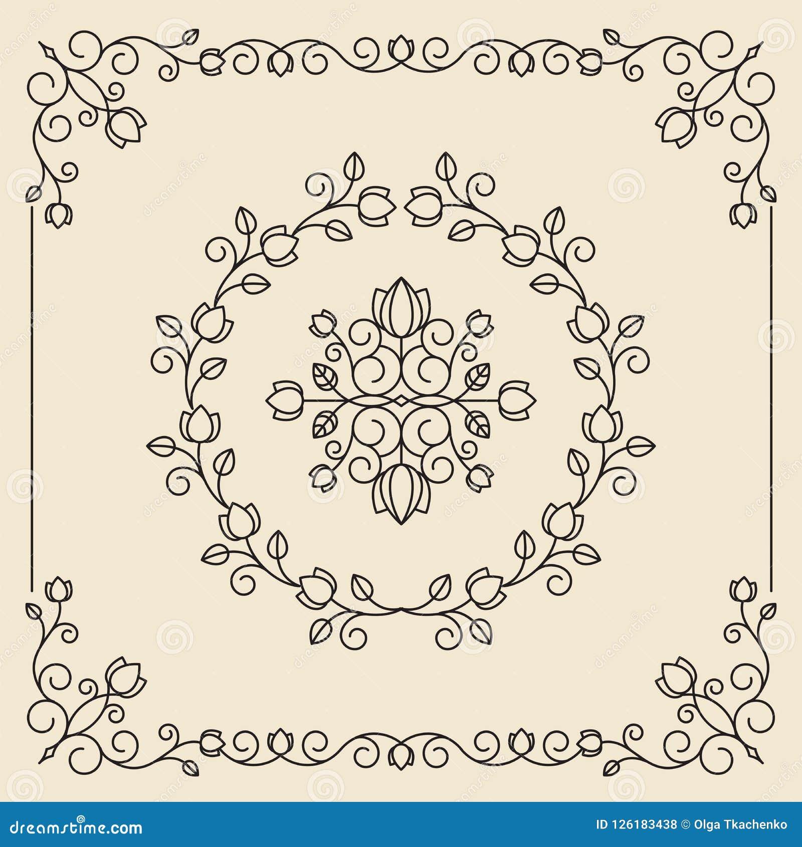Ornamenti d annata e divisori Progetti l insieme di elementi Flor decorata