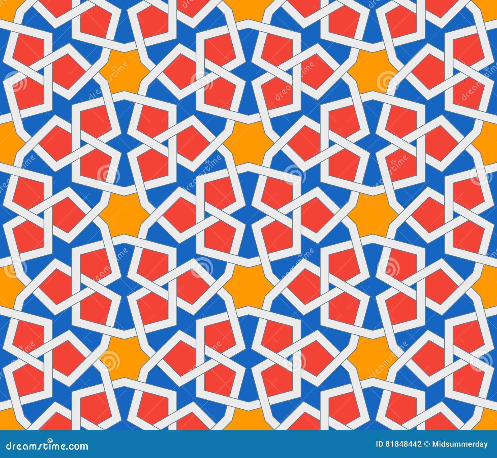 Ornamenti geometrici islamici basati su arte araba tradizionale Reticolo  senza giunte orientale Mosaico musulmano Decorazione del