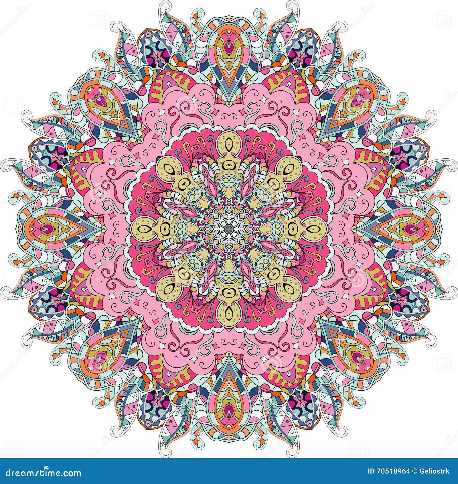 Ornamento étnico del mehndi del Tracery Adorno que calma discreto indiferente, diseño armonioso colorido que garabatea usable Vec
