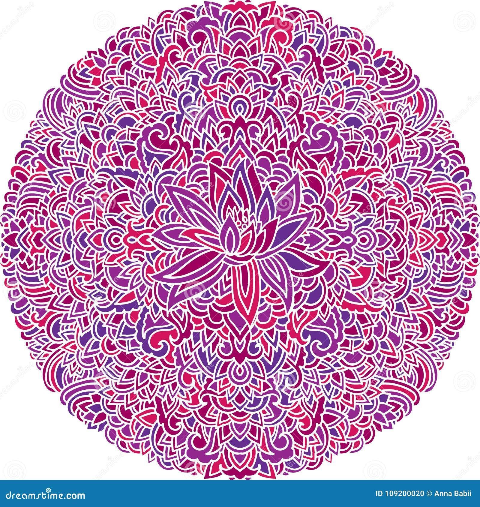 Ornamento Abstracto De La Mandala Modelo Asiático Con La Flor De