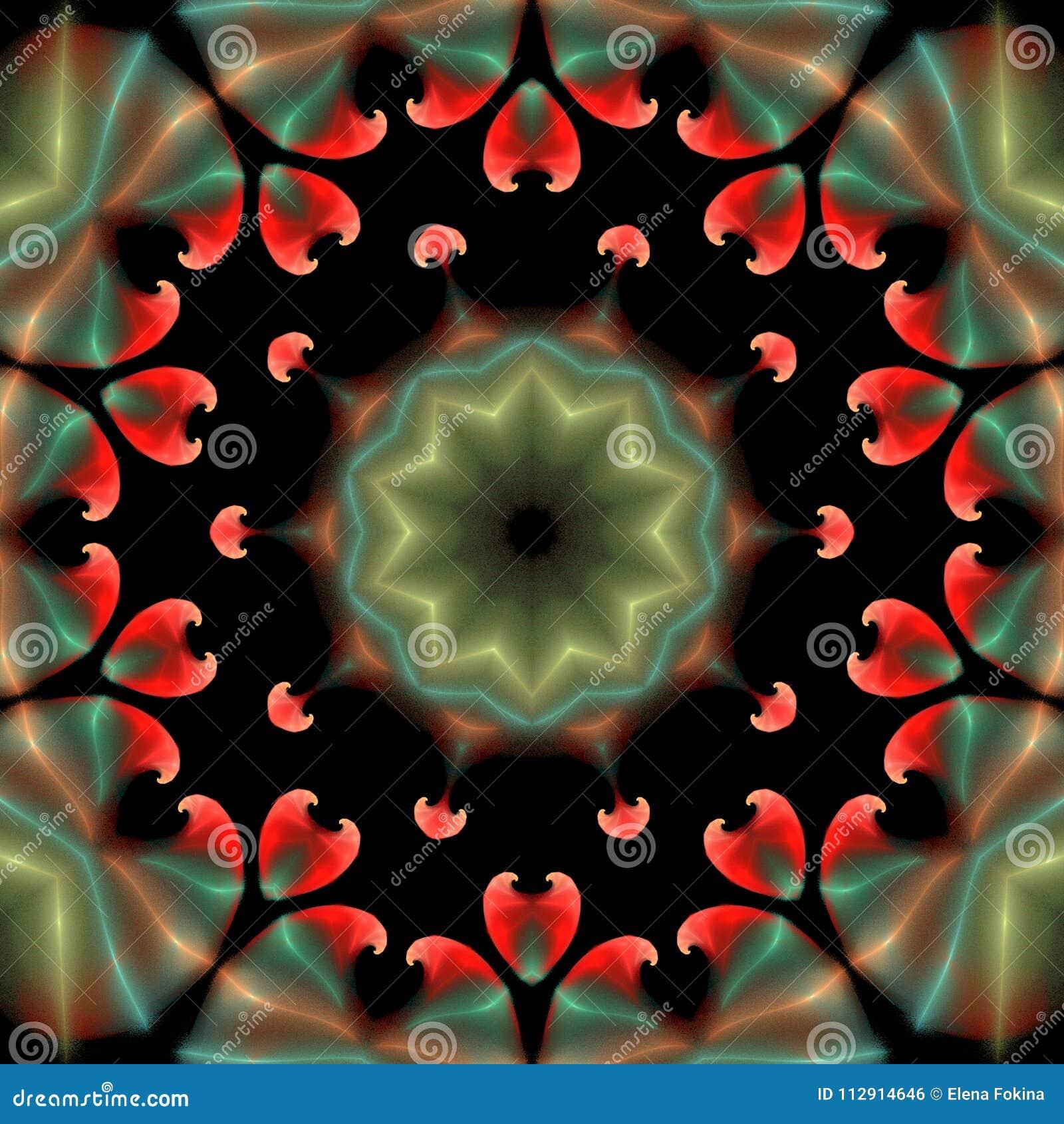 Ornamento abstracto hermoso en fondo aislado negro