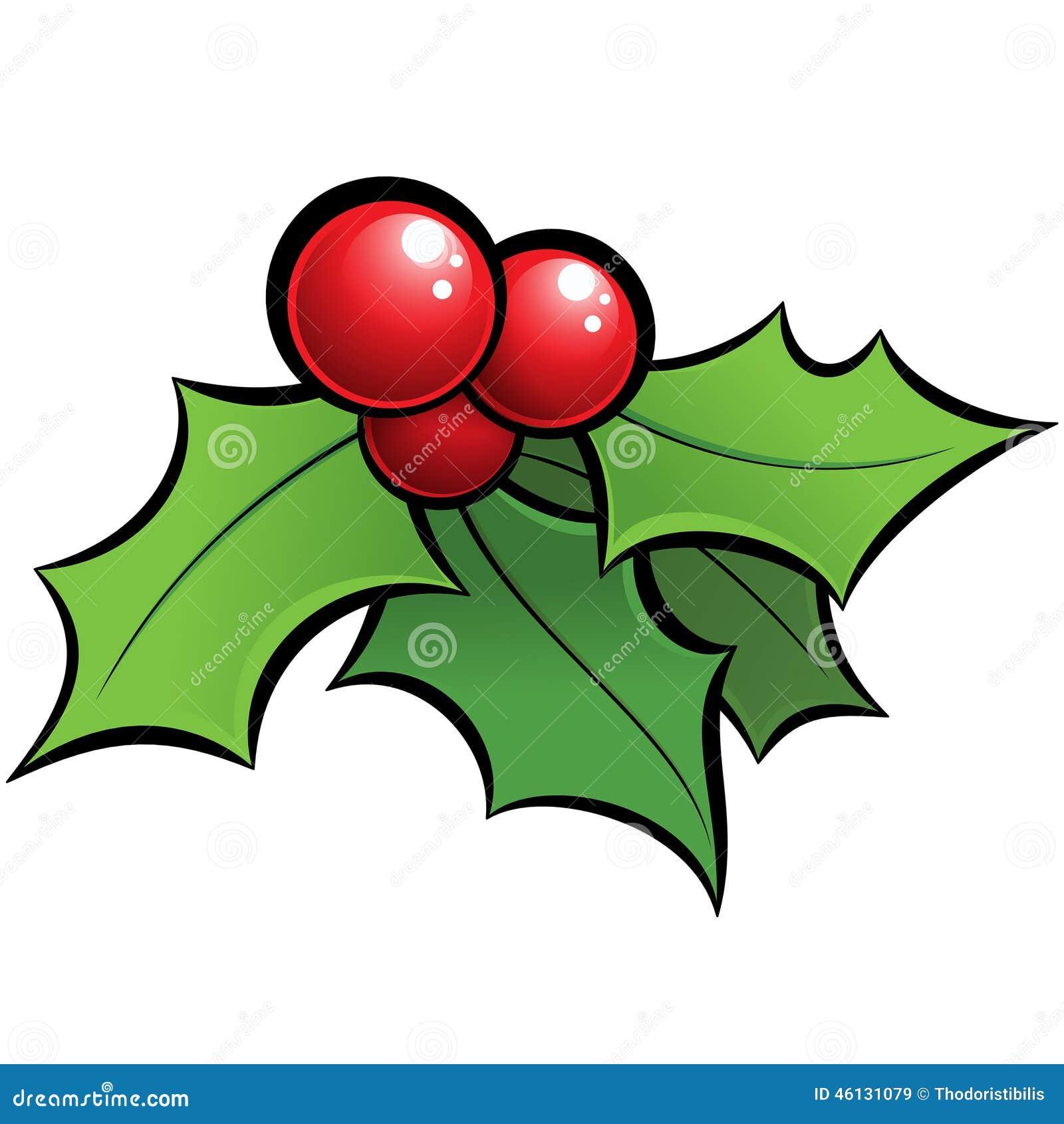 ornamento brillante de la navidad del mu rdago del holli del vector de la historieta con bla