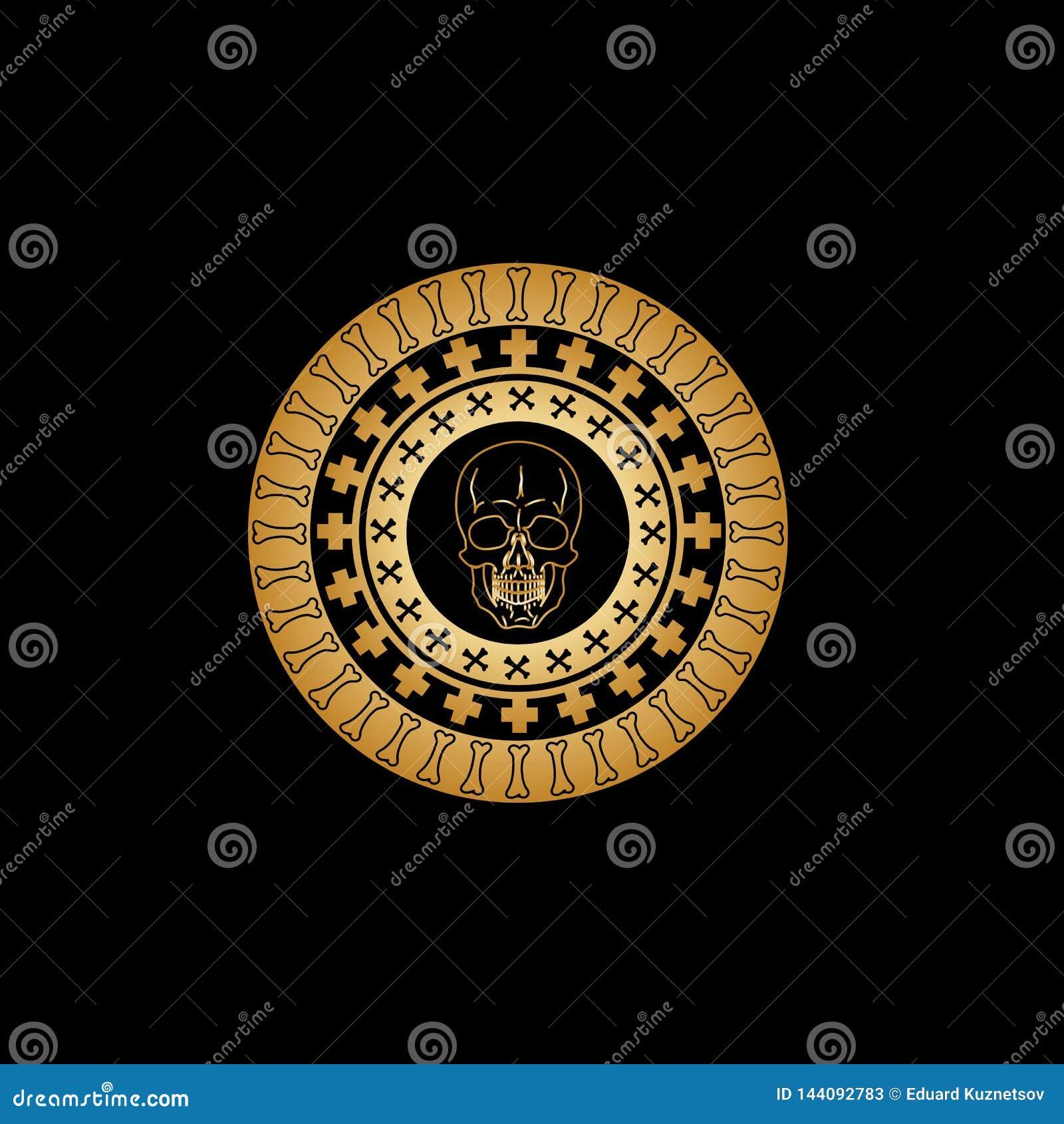 Ornamento circular gótico com testes padrões dos ossos tibial cruzados e de um crânio do vintage do ouro no centro da composição