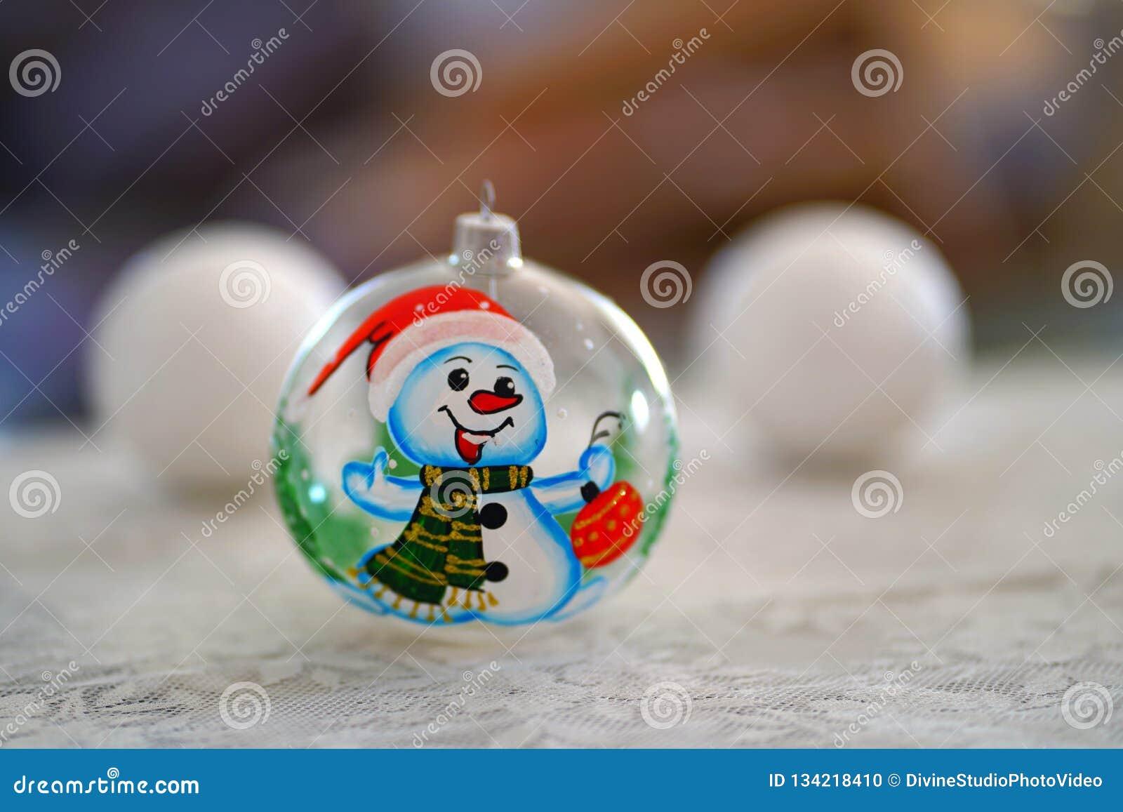 Ornamento da árvore de Natal do boneco de neve pintado à mão