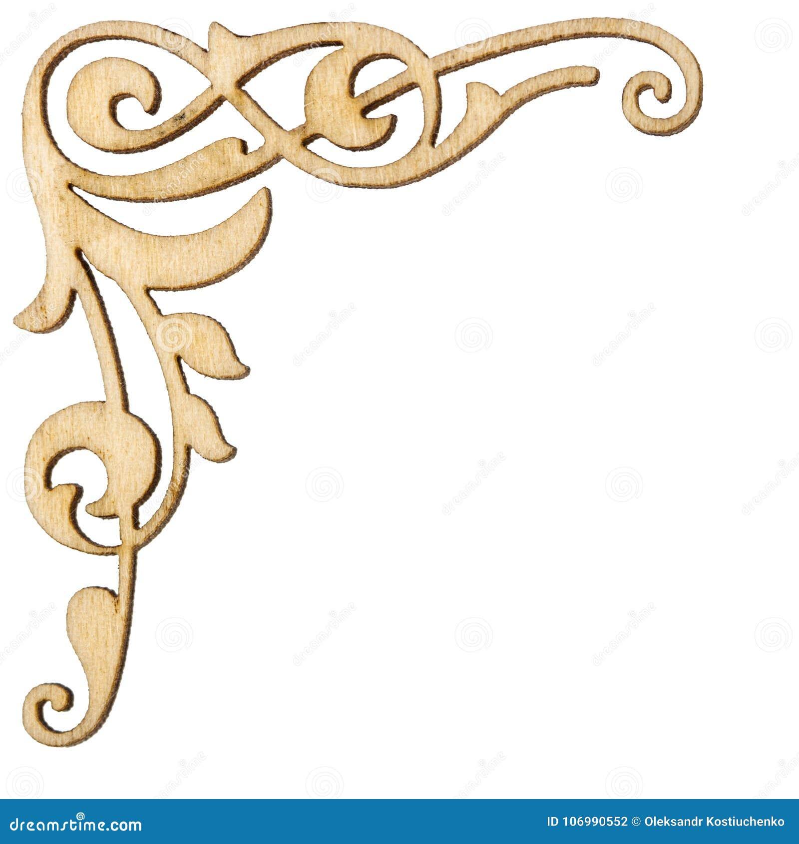 Ornamento de la esquina barroco del vintage de madera, elemen decorativos del diseño