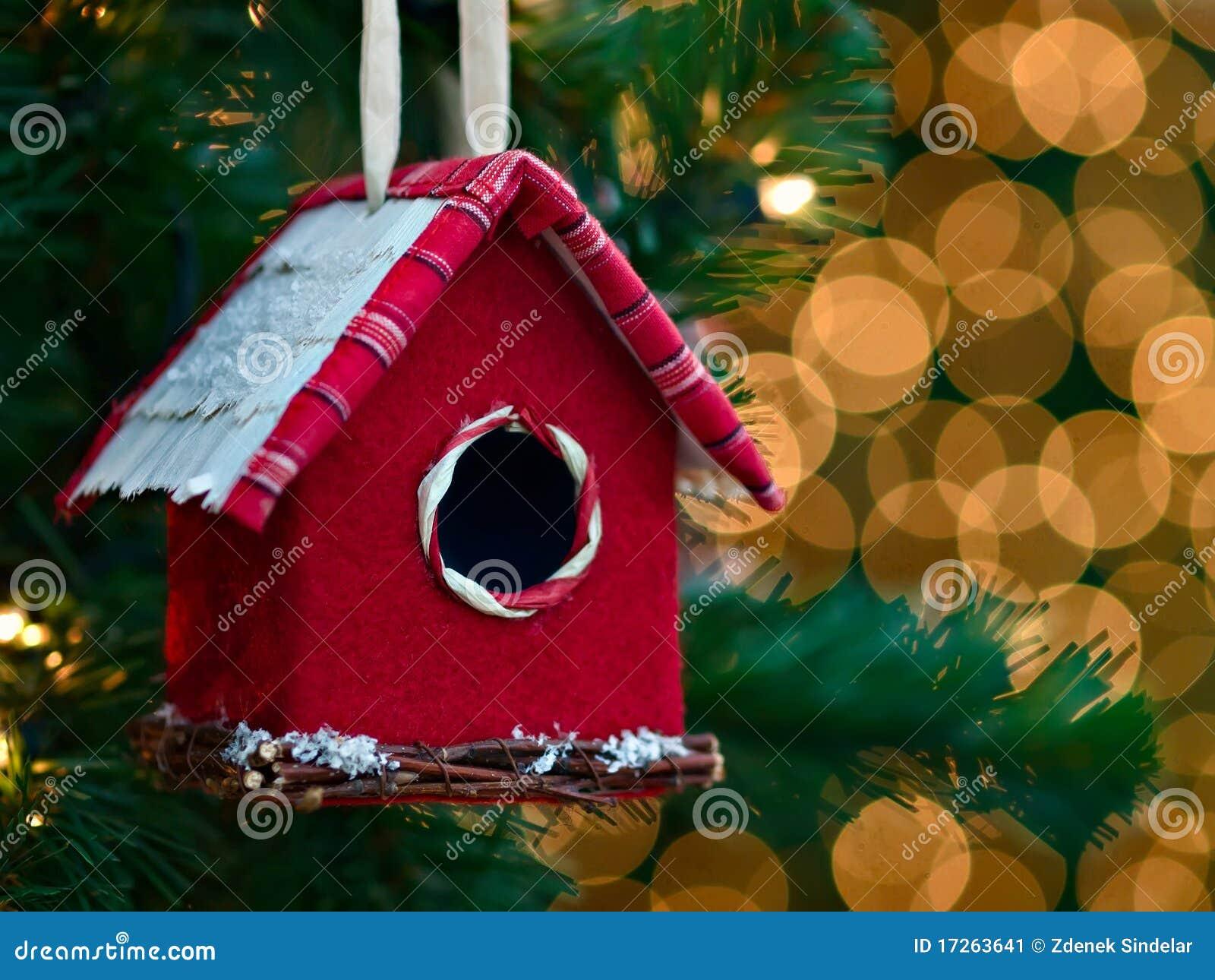 Ornamento de la Navidad - casa del pájaro