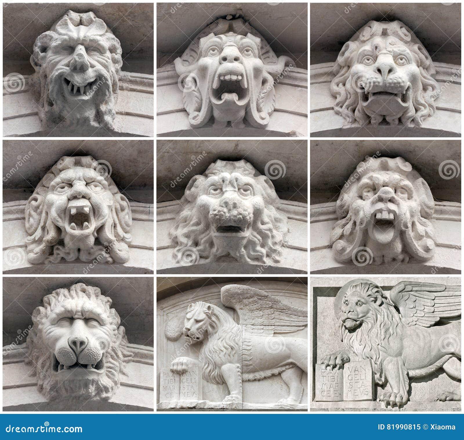 Ornamento de Mascaron y león veneciano; Bérgamo