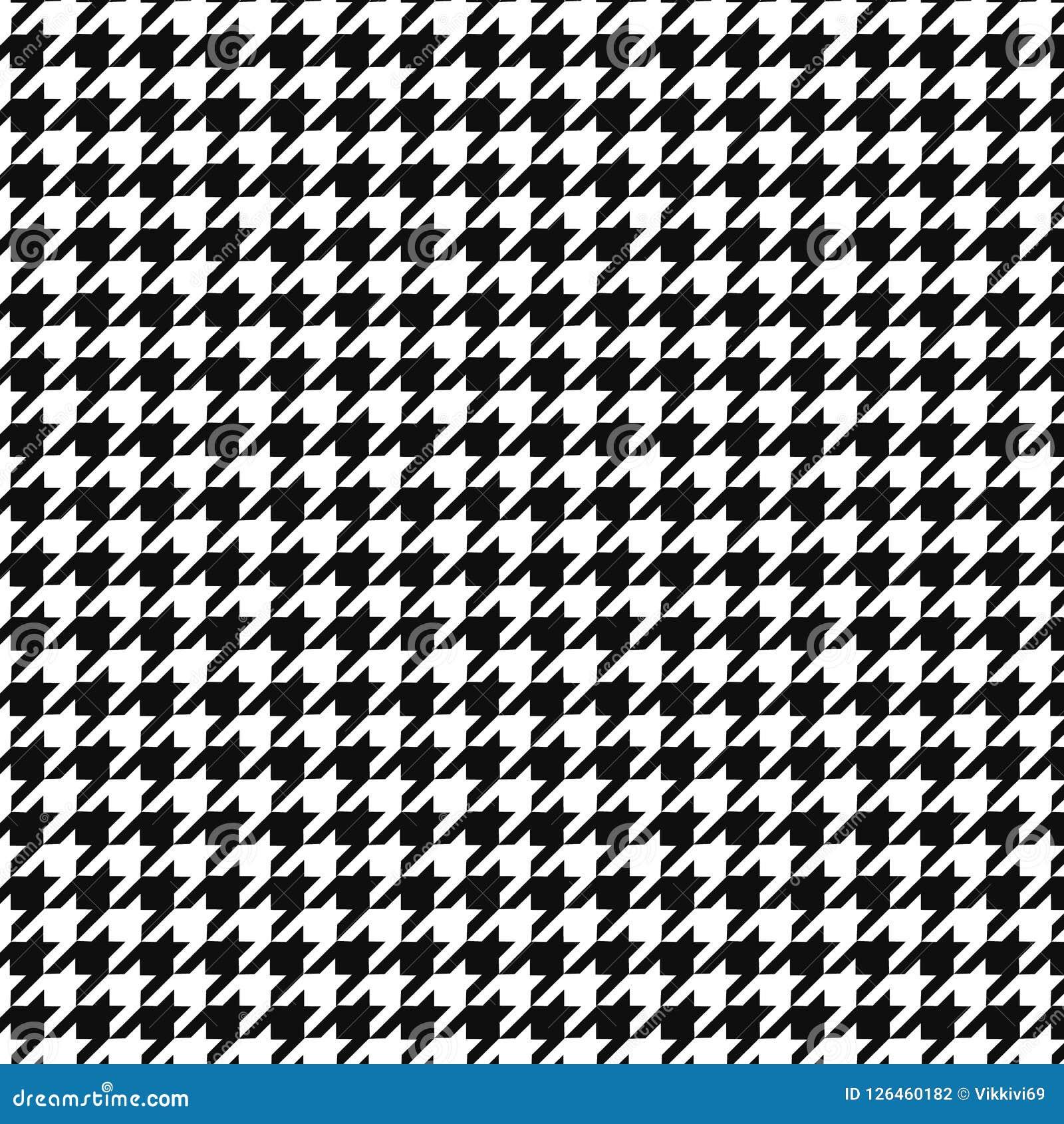 Ornamento del modelo del vector del diente de perros Impresión geométrica en color blanco y negro Tela escocesa inglesa clásica d
