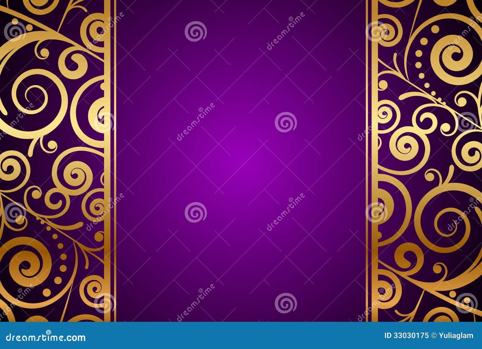 Ornamento del oro en fondo púrpura