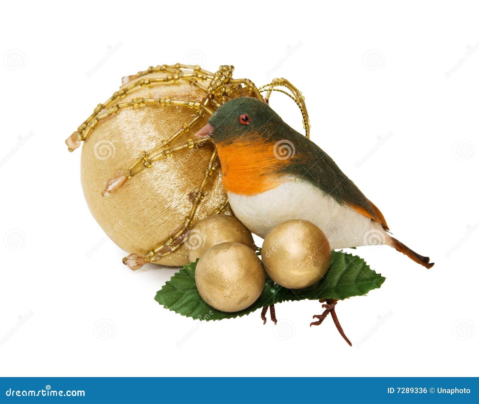 Ornamento del pájaro de la Navidad de la vendimia - camino de recortes