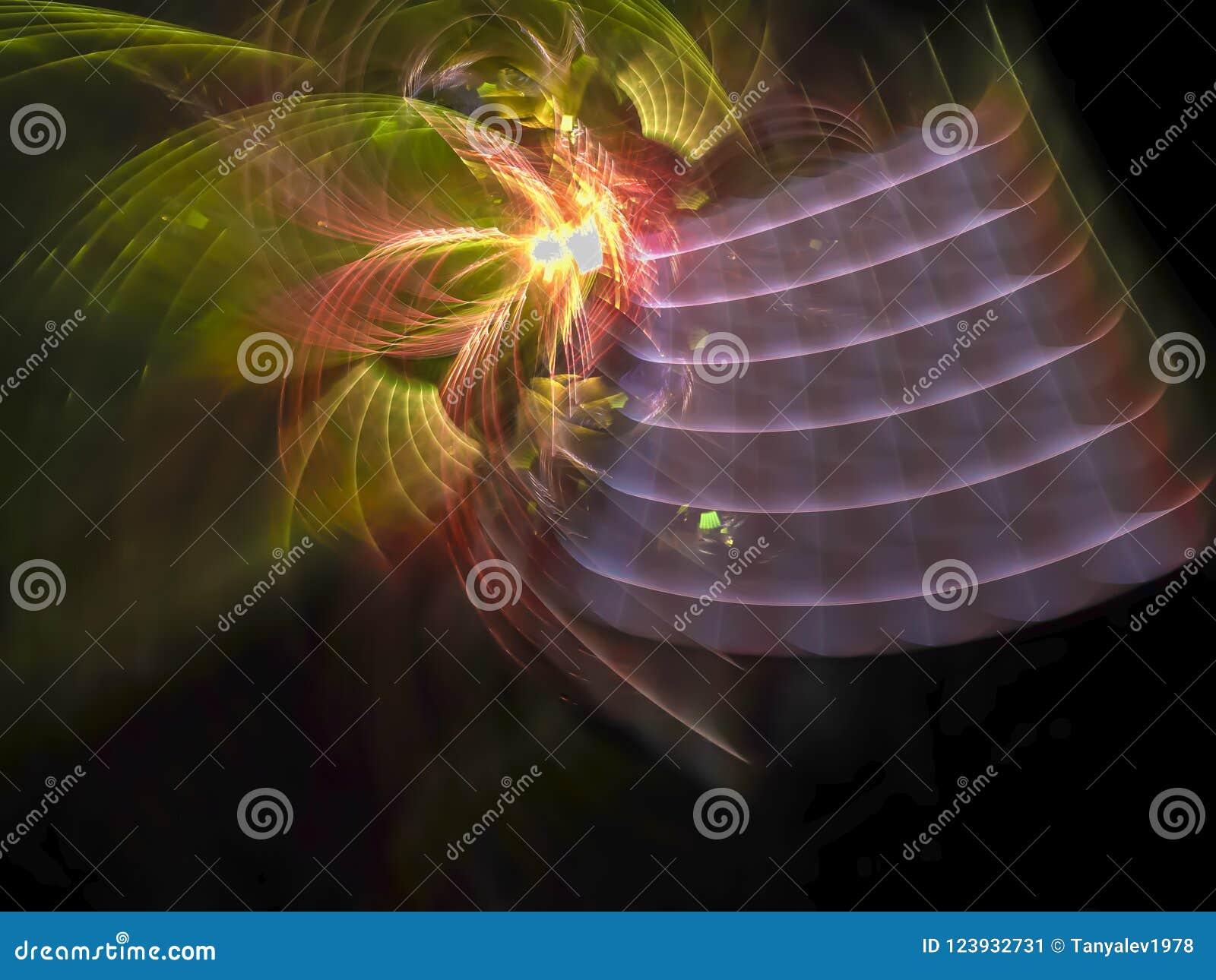 Ornamento di sogno decorativo etereo di fantasia di fantasia astratta del flusso numerico, esposizione di forma di effetto