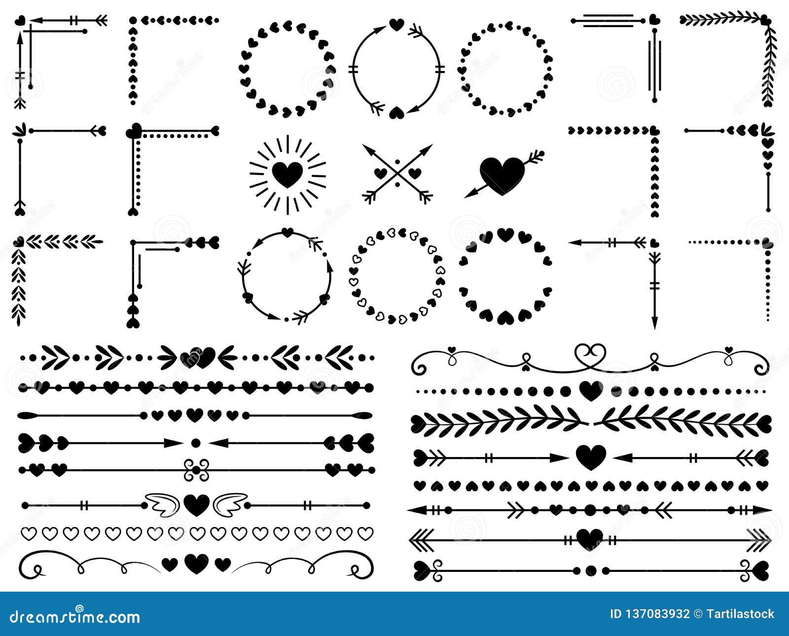Ornamento do amor Corações do casamento decorativos, beira do coração e grupo de elementos decorativos do vetor do ornamento do p