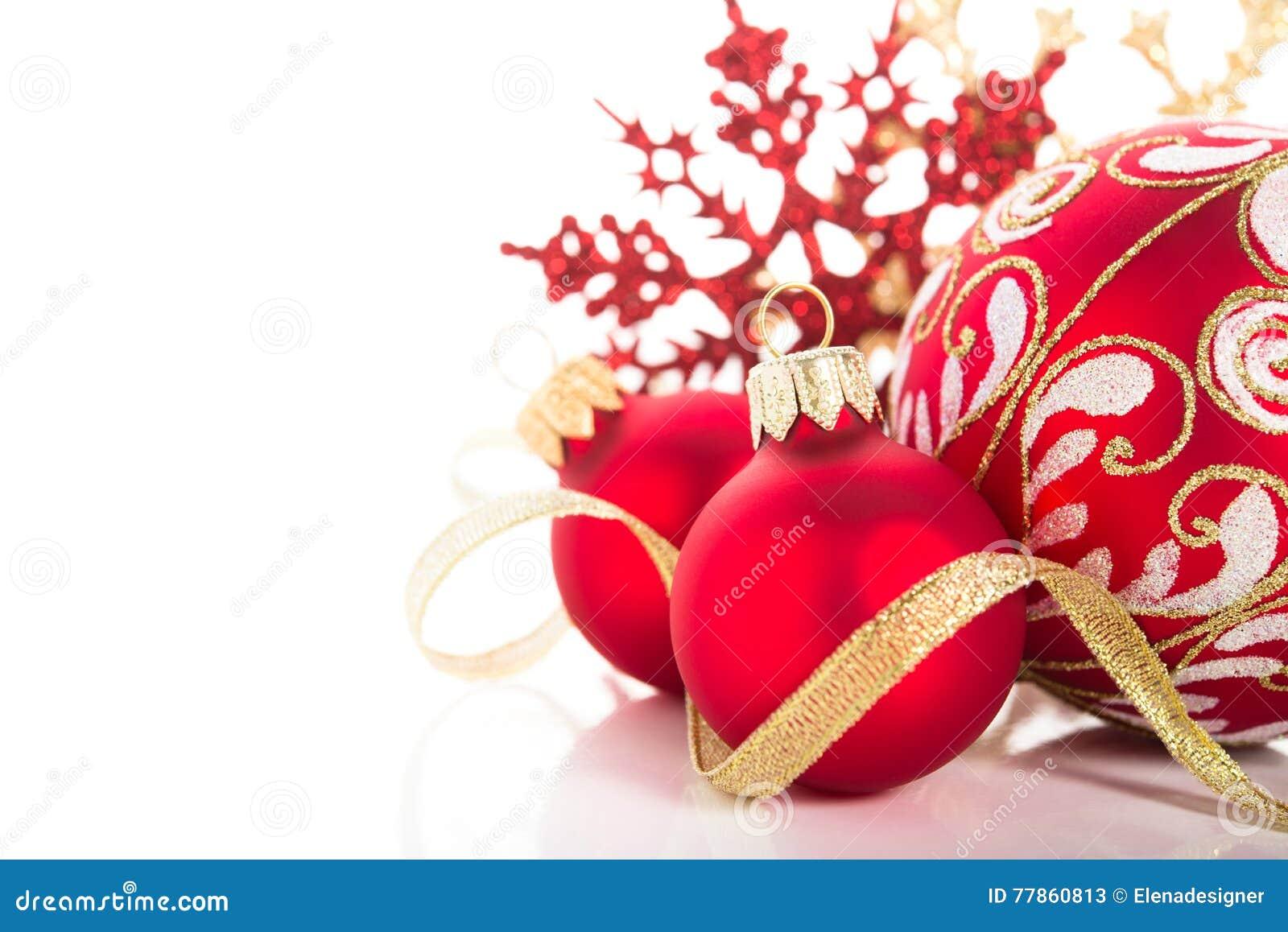Ornamento Dourados E Vermelhos Do Natal No Fundo Branco Cartão Do