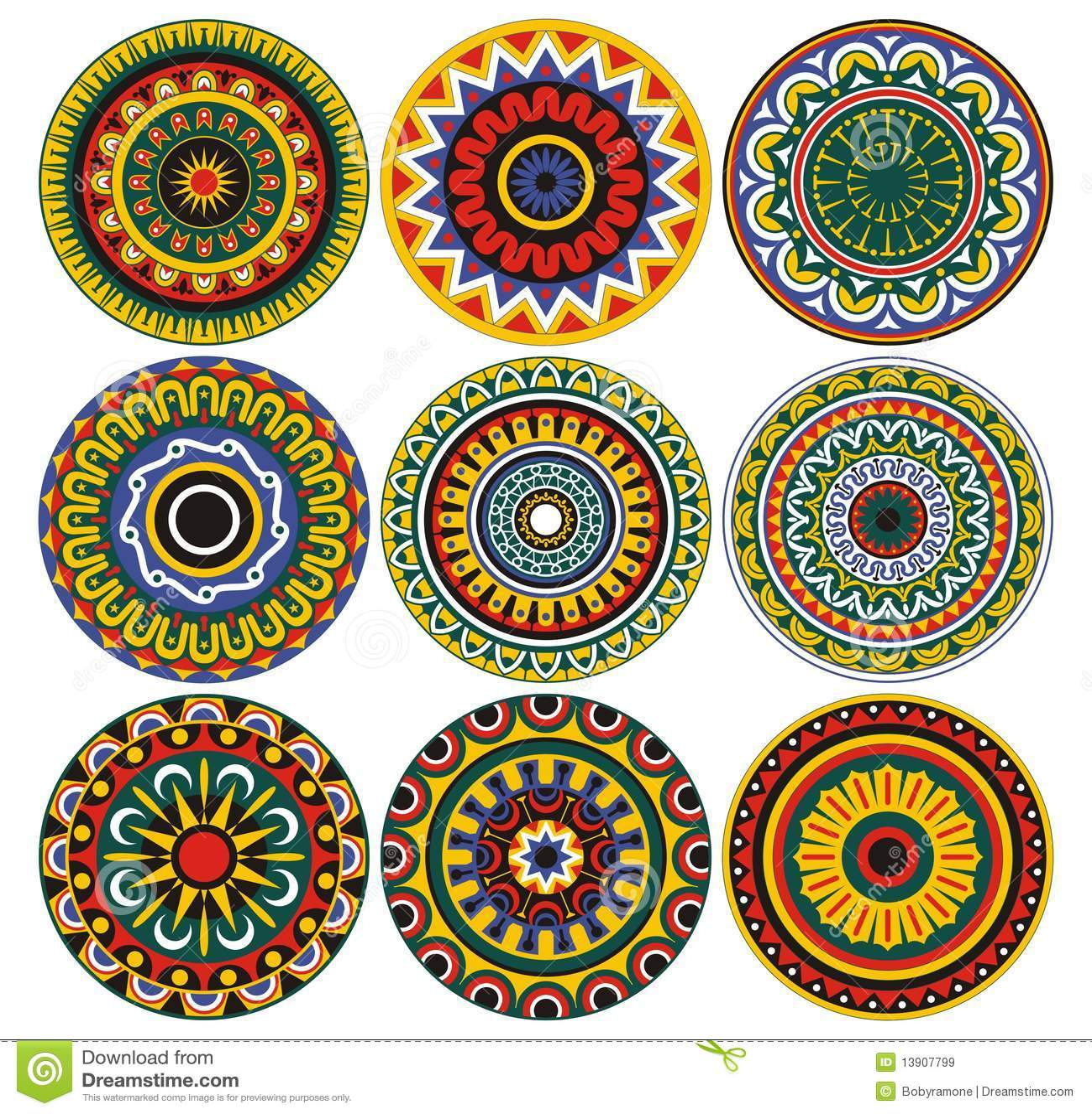 Ornamento e círculos dos testes padrões