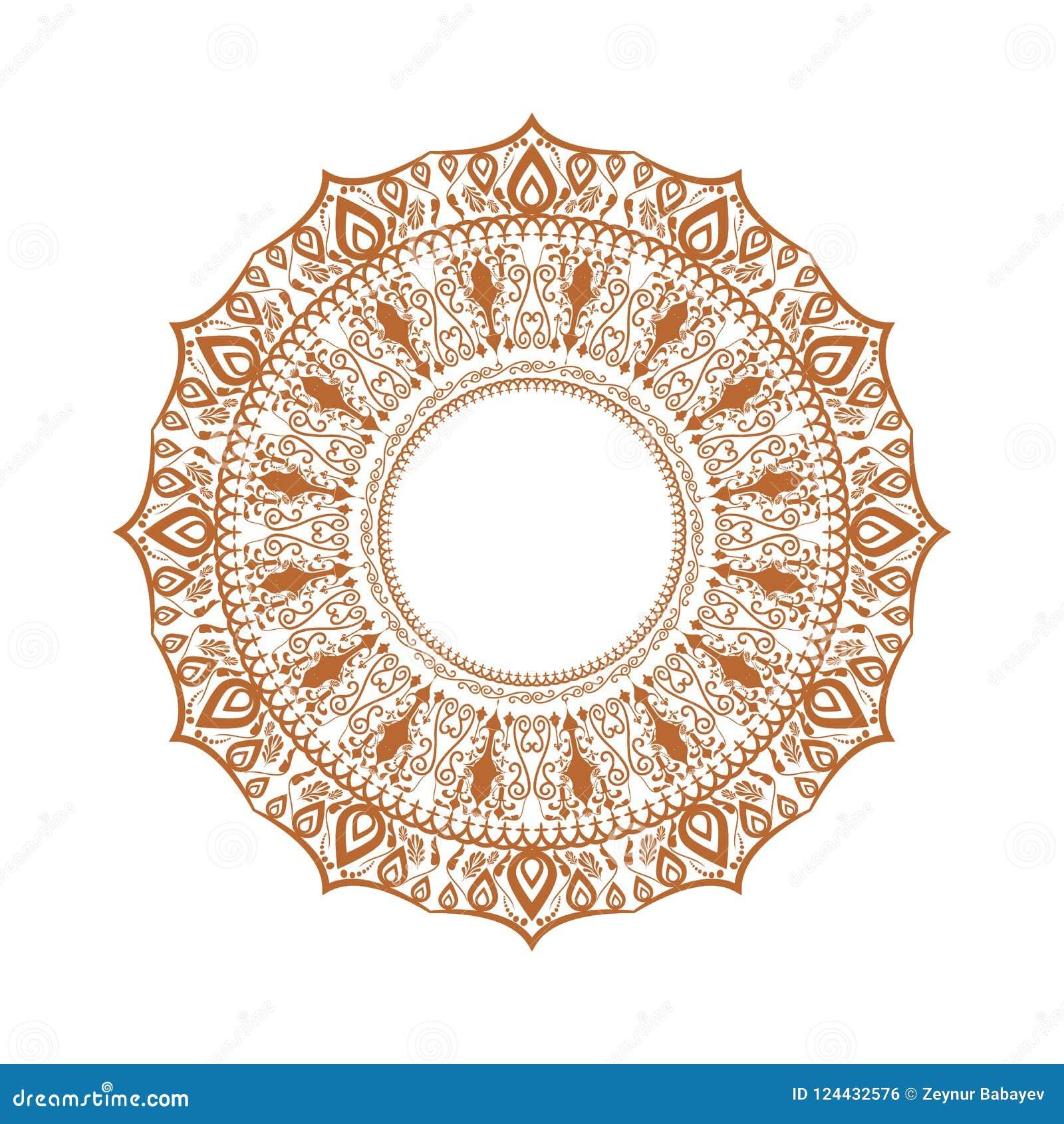 Ornamento feliz del diwali del rangoli Mandala ilustrada arriba detallada del círculo para su fondo Ilustración del vector