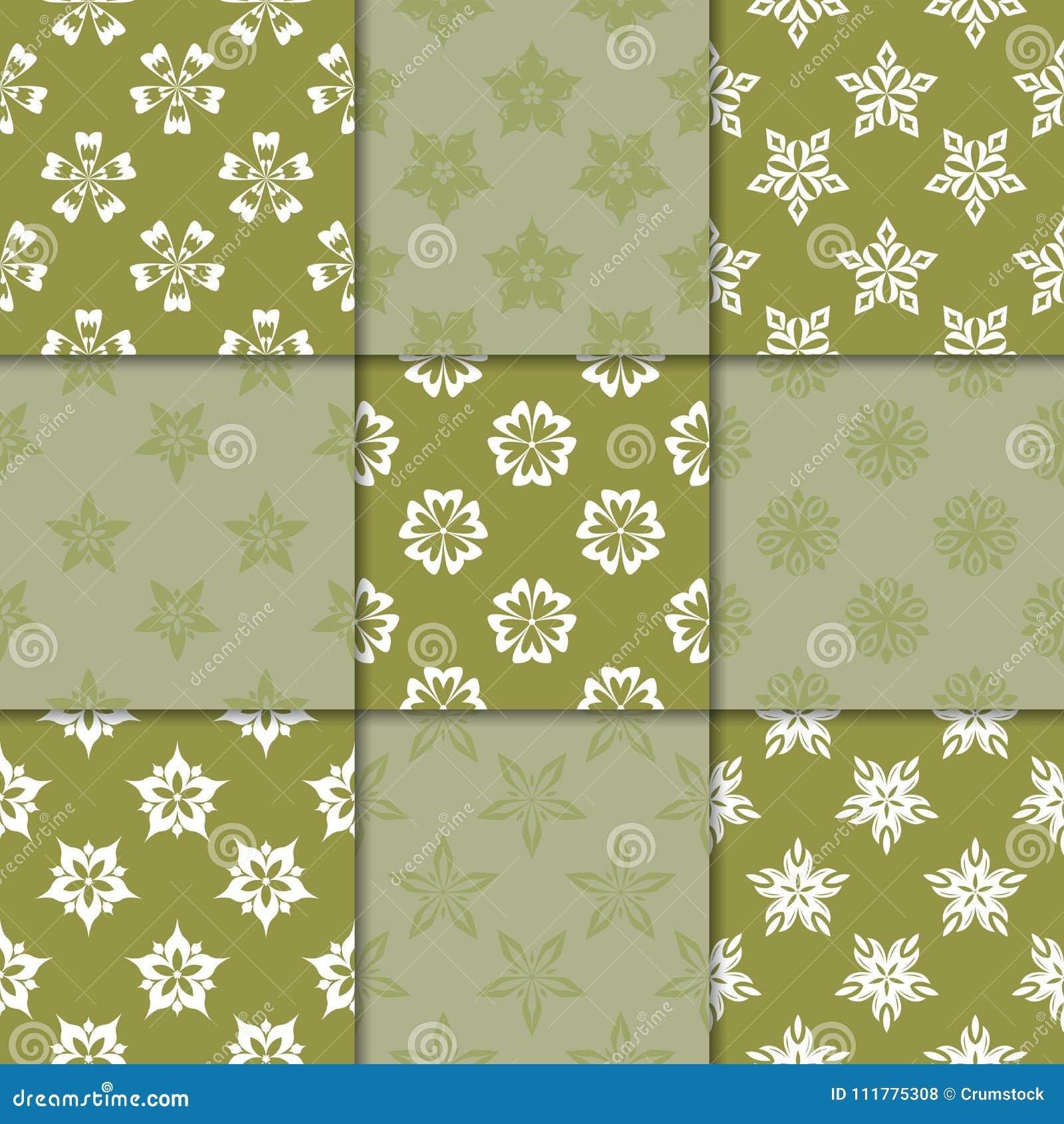 Ornamento florais do verde azeitona Coleção de testes padrões sem emenda