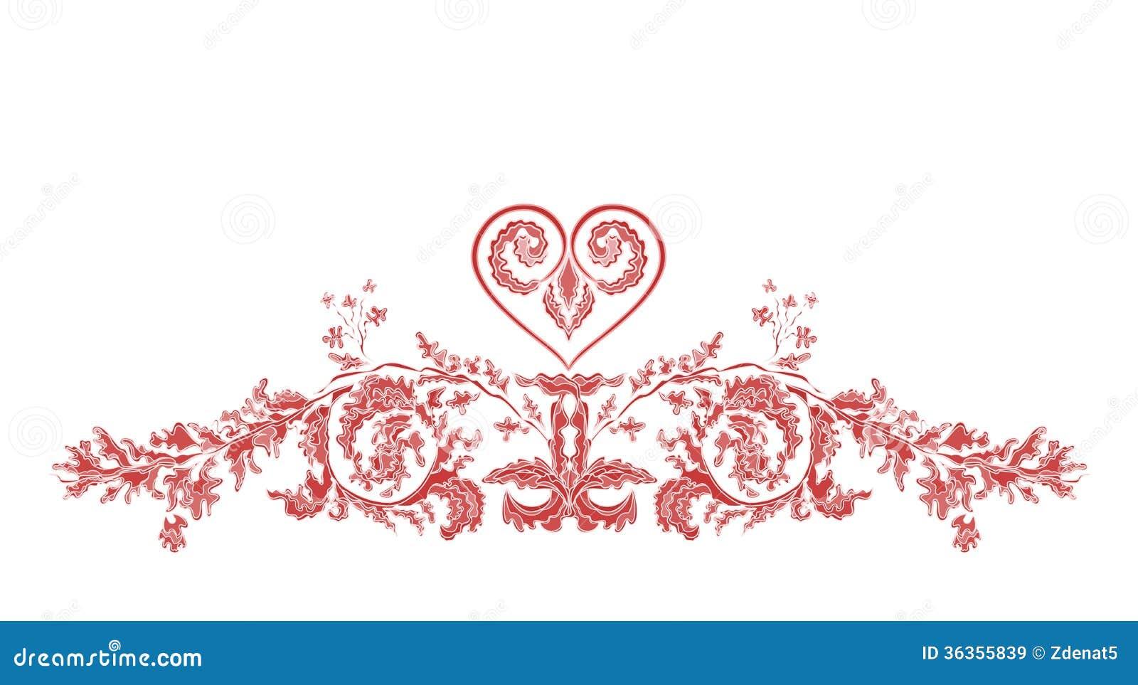 Ornamento florais e coração de Valentine Greeting