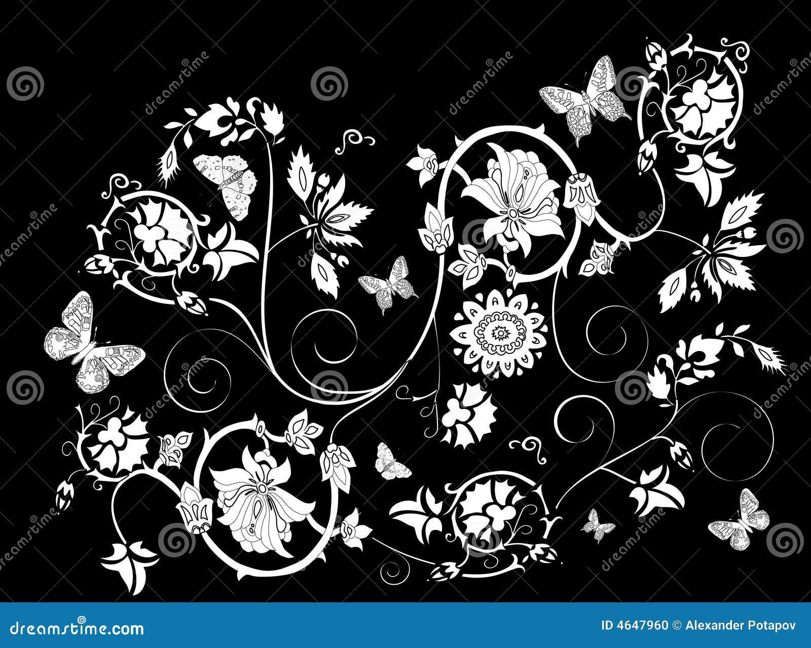 Ornamento floral branco no preto
