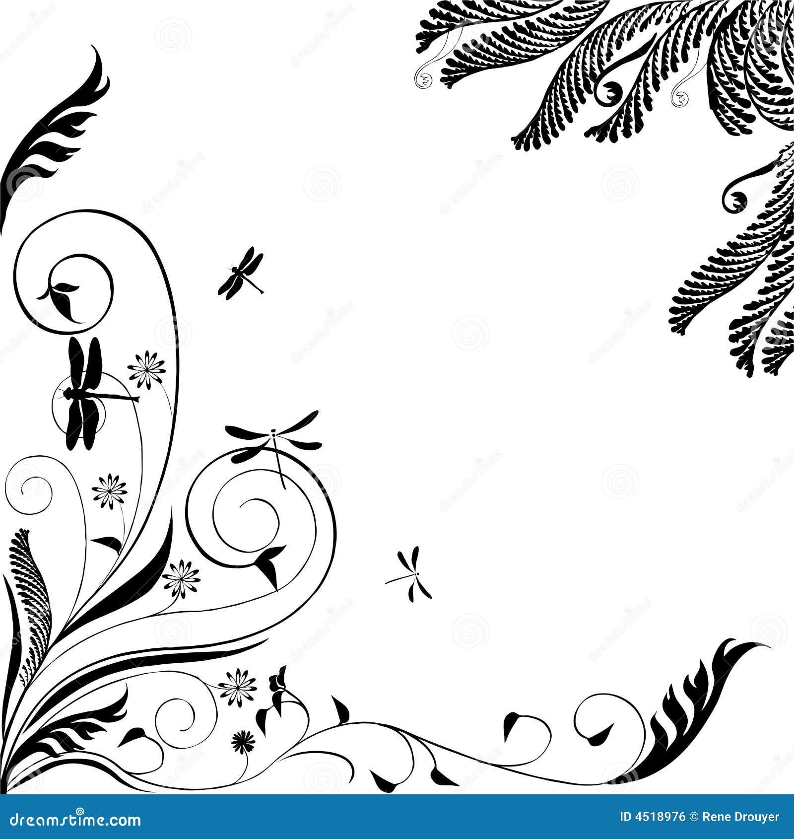 Ornamento floral com libélulas: Vetor