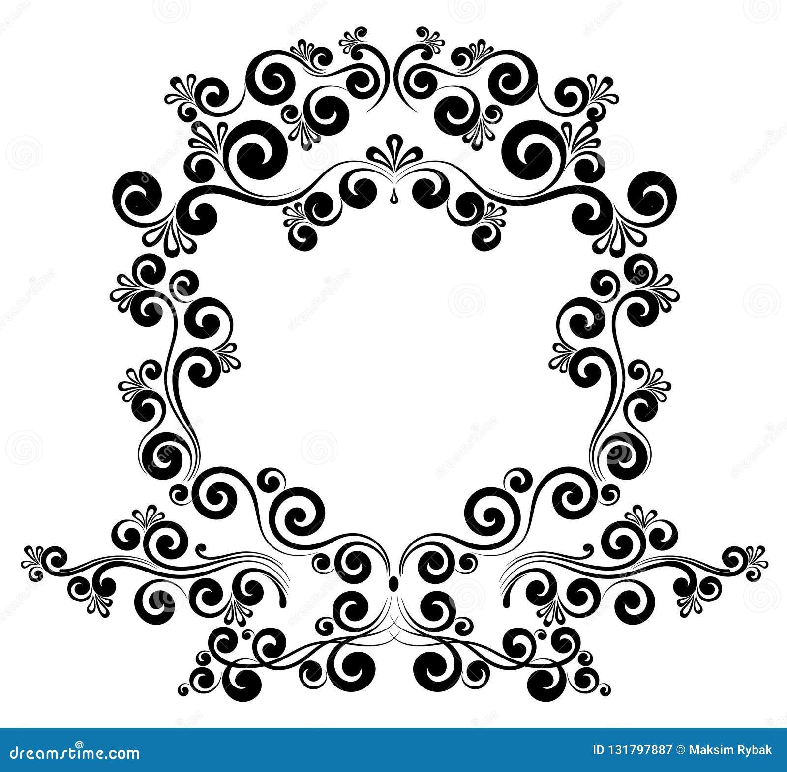 Ornamento floral del marco del monograma barroco de la frontera