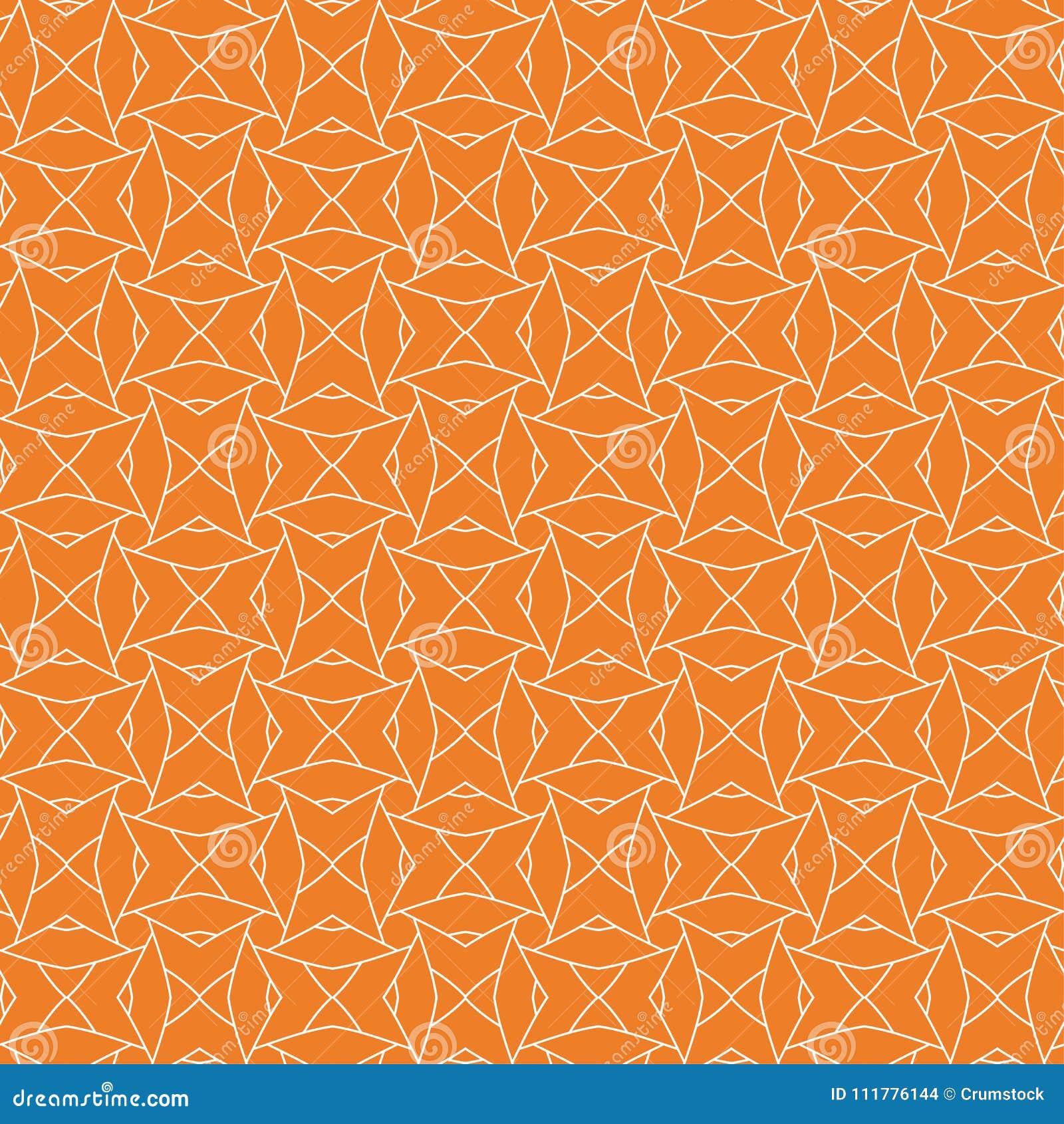 Ornamento geométrico anaranjado Modelo inconsútil