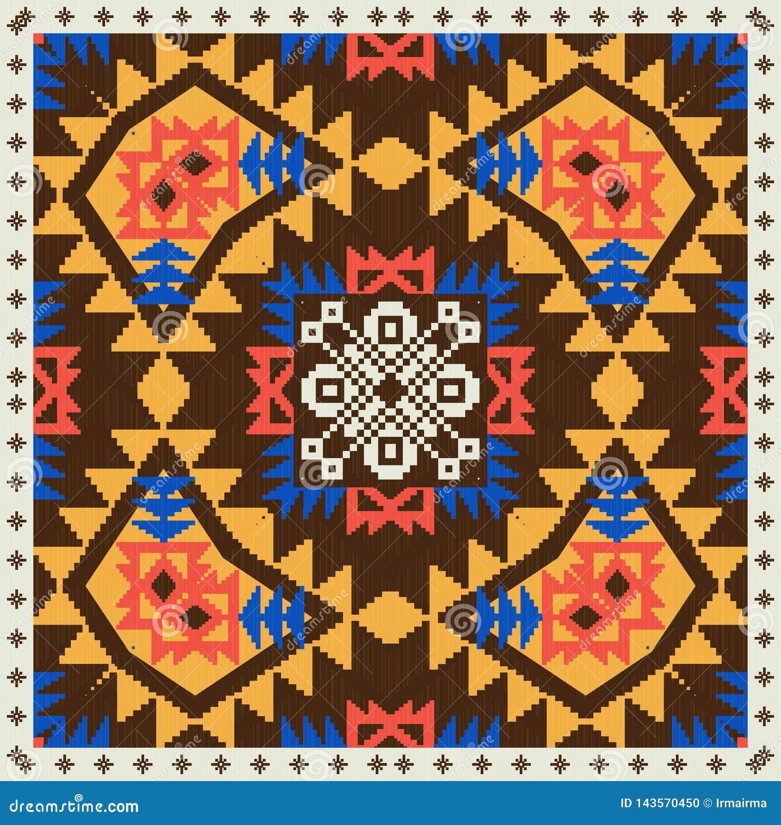 Ornamento geométrico en estilo étnico