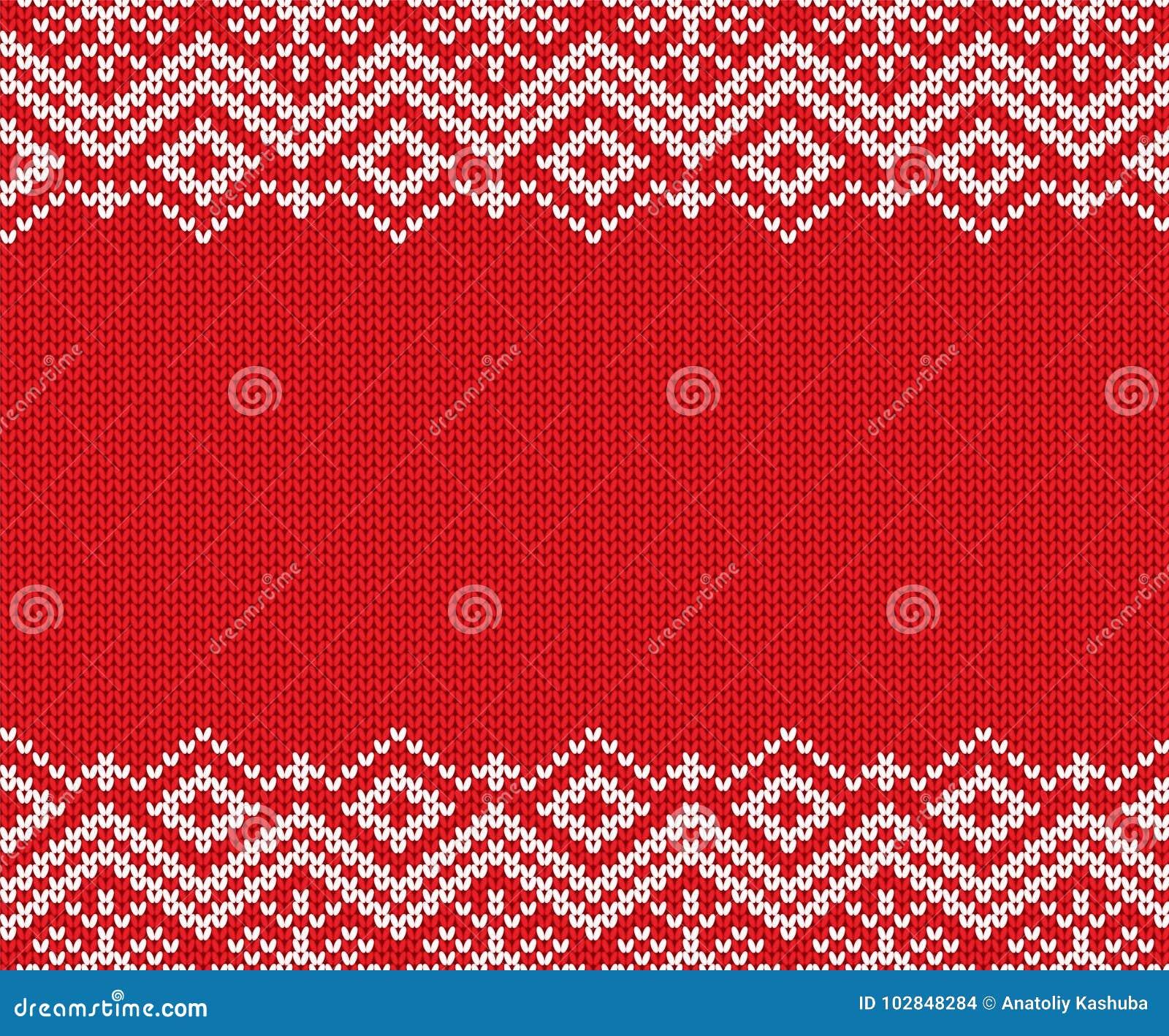 Ornamento geométrico vermelho e branco do Natal feito malha Projeto da textura da camiseta do inverno da malha do Xmas