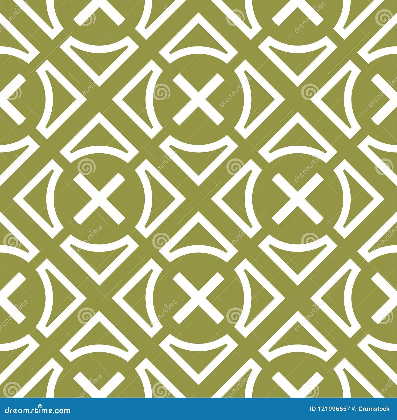 Ornamento geometrico bianco verde oliva e di verde Reticolo senza giunte