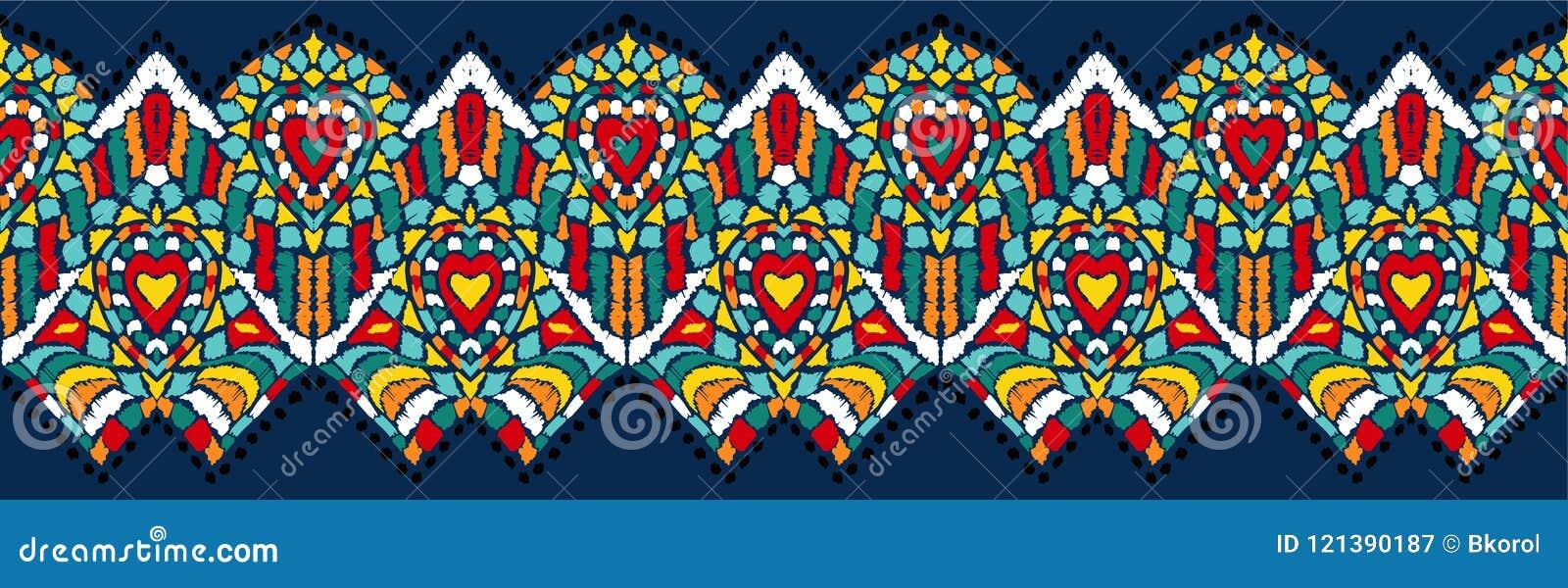 Ornamento geometrico di folclore di Ikat Struttura etnica tribale di vettore Modello a strisce senza cuciture nello stile azteco