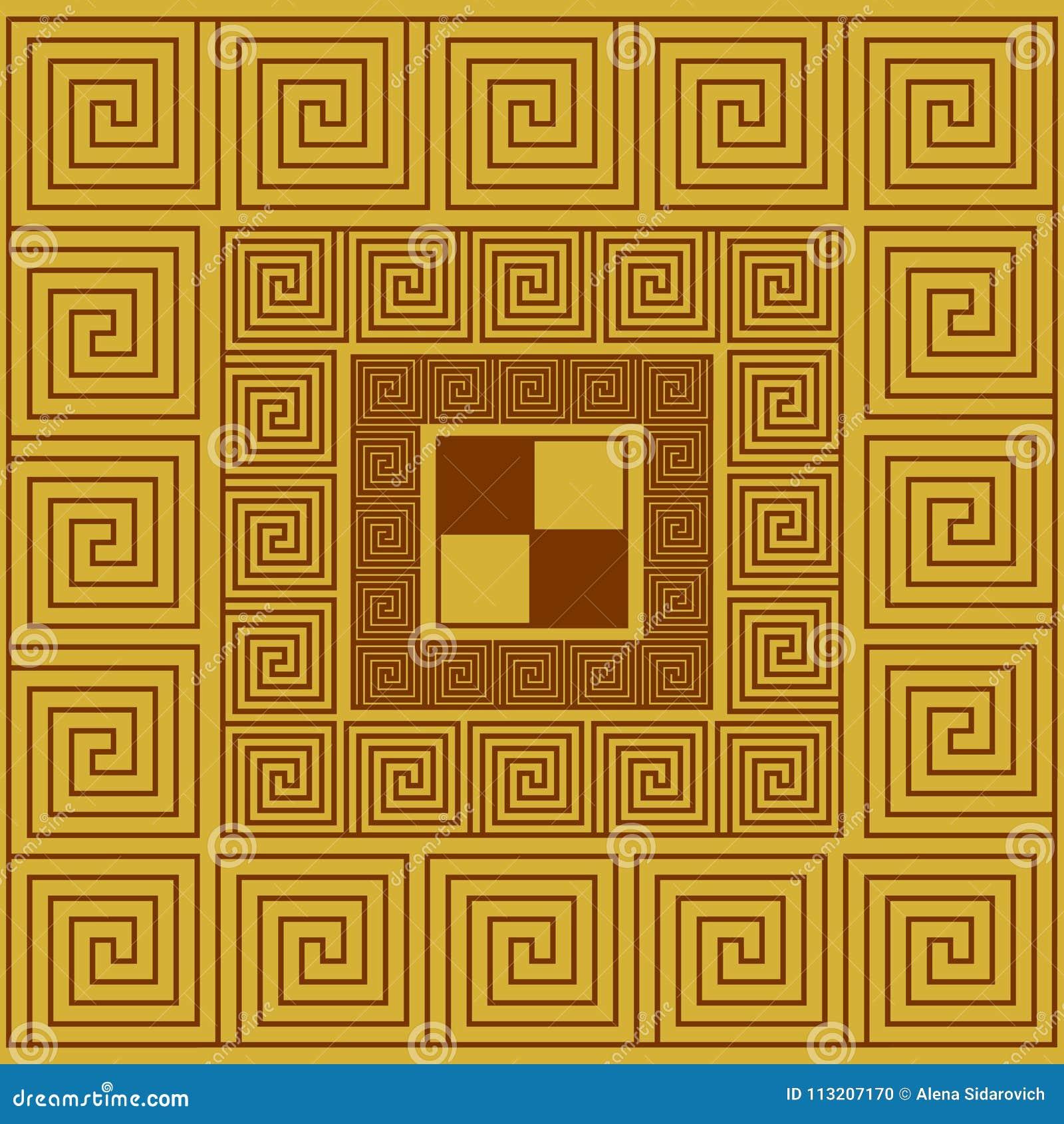 Ornamento griego abstracto, teja, modelo en un cuadrado
