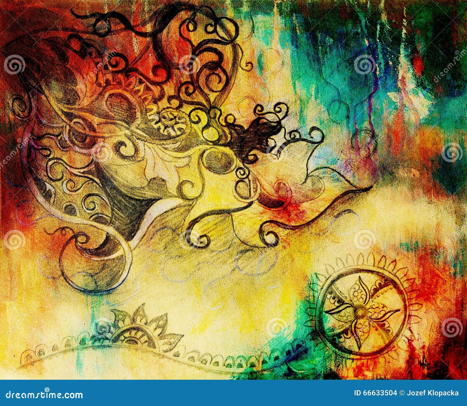 Ornamento Hermoso Dibujo De Lápiz En El Papel Viejo Y Puntos Del