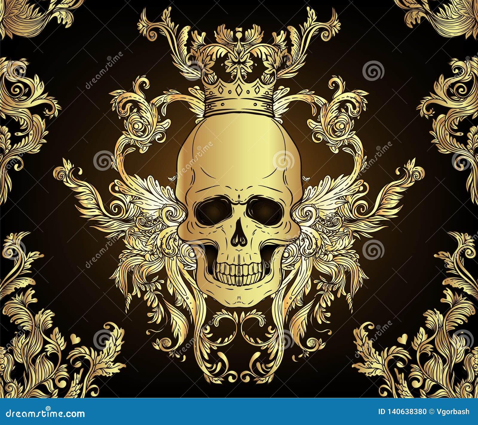 Ornamento inconsútil barroco Modelo del estilo del damasco con el cráneo Diseño adornado del vintage para el papel pintado, envol