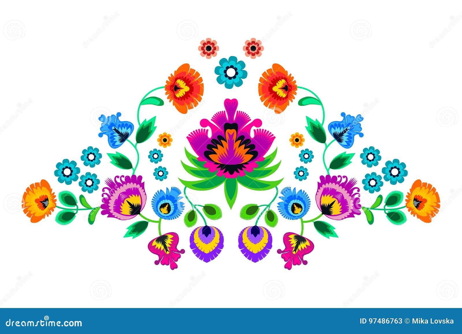 Ornamento piega del ricamo con i fiori Decorazione polacca tradizionale del modello - wycinanka, Wzory Lowickie