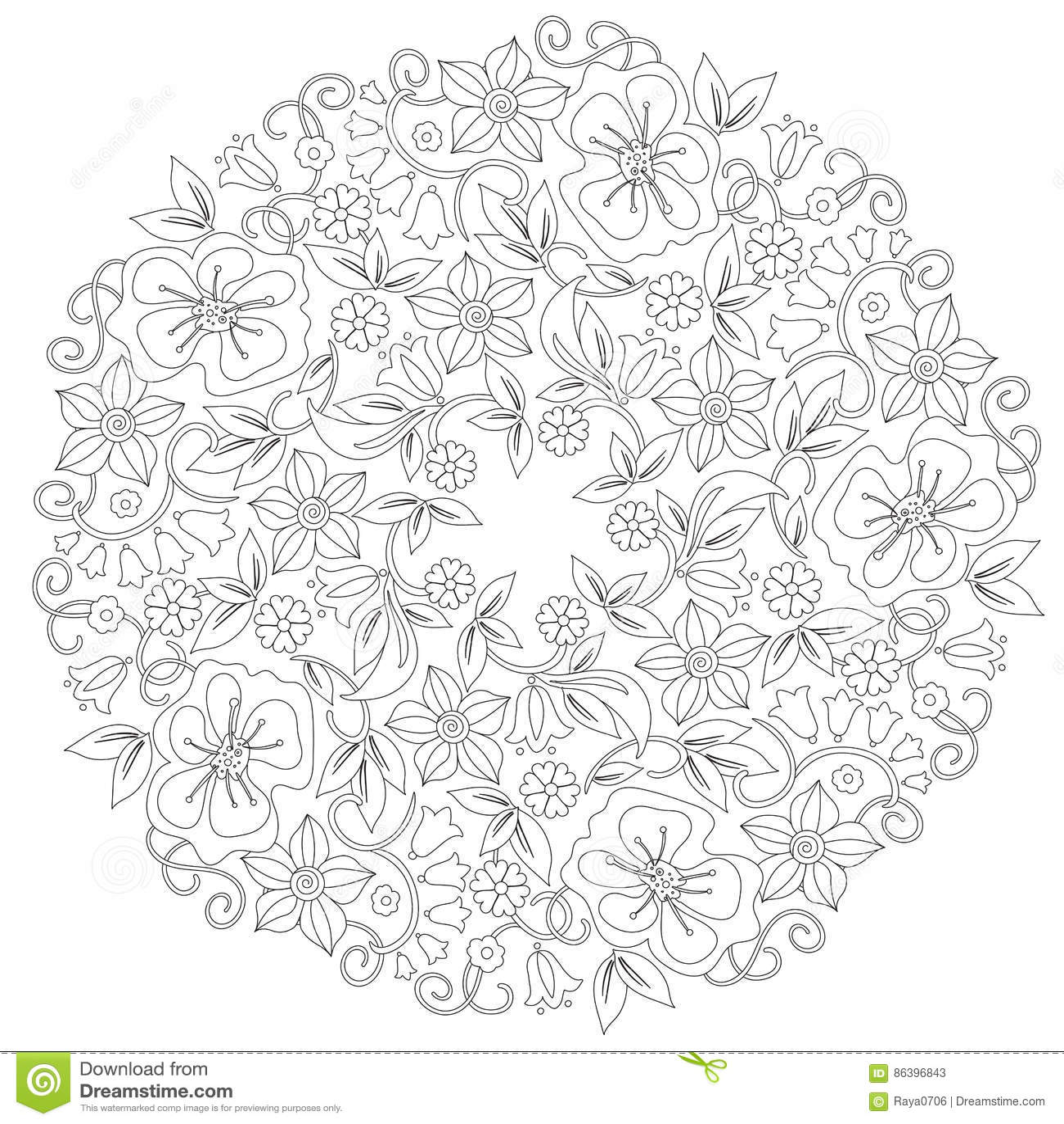 Ornamento Redondo Floral Del Garabato En Blanco Y Negro Página Para ...